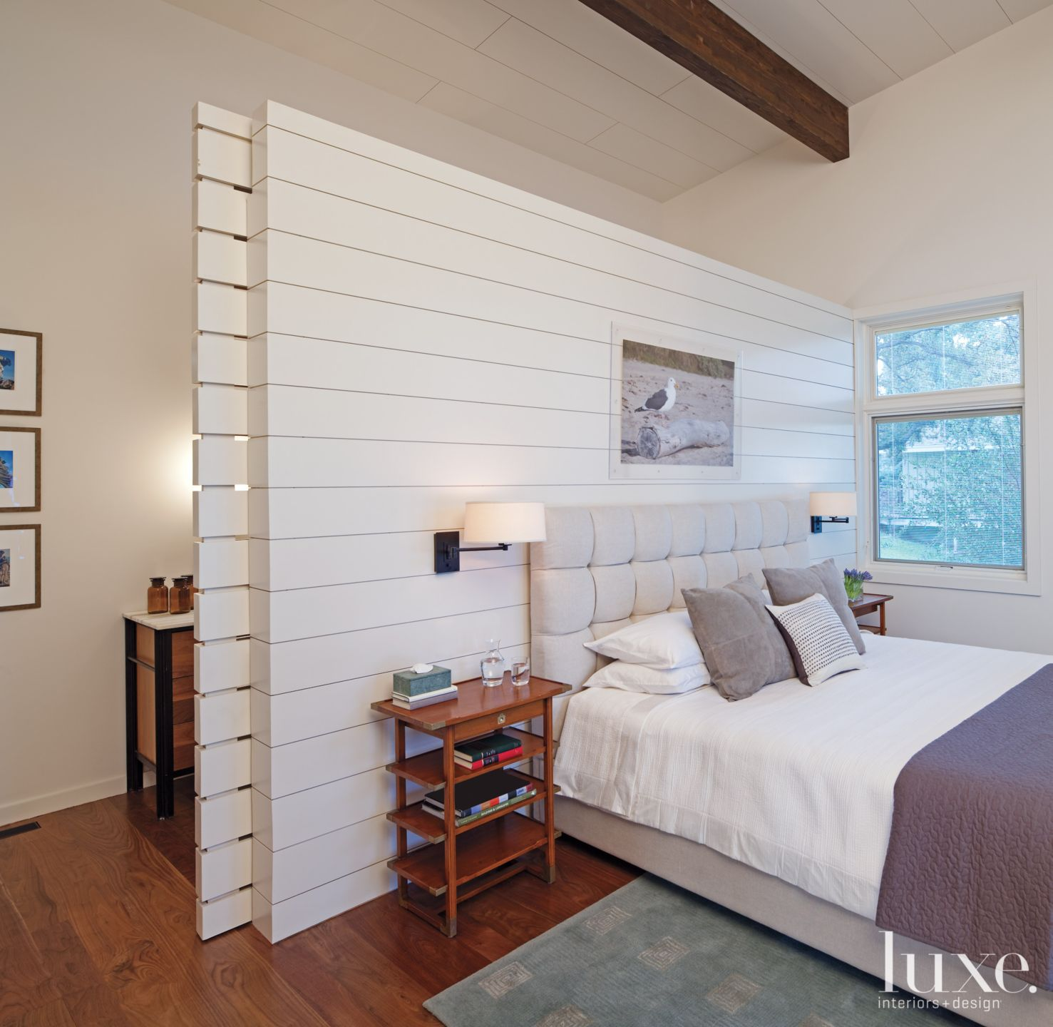 White Contemporary Master Bedroom With Slatted Wall