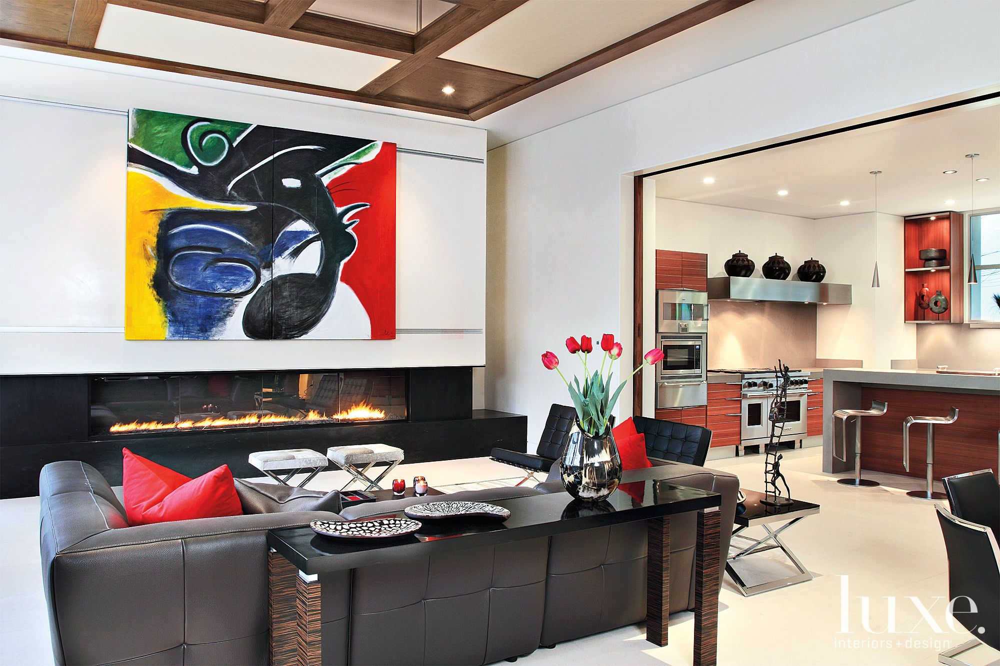 Modern White Family Room with Black Fireplace
