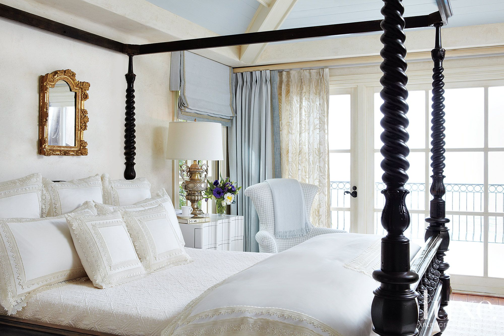Mediterranean White Master Bedroom with Blue Ceiling