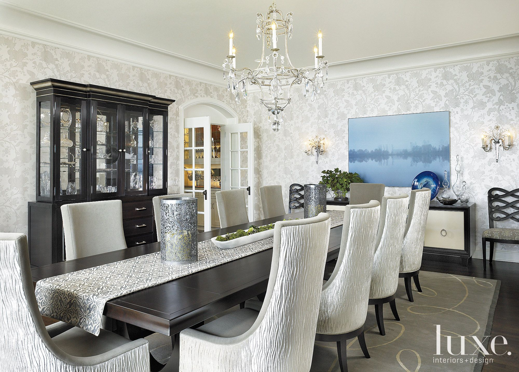 Contemporary White Dining Room with Floral Wallpaper