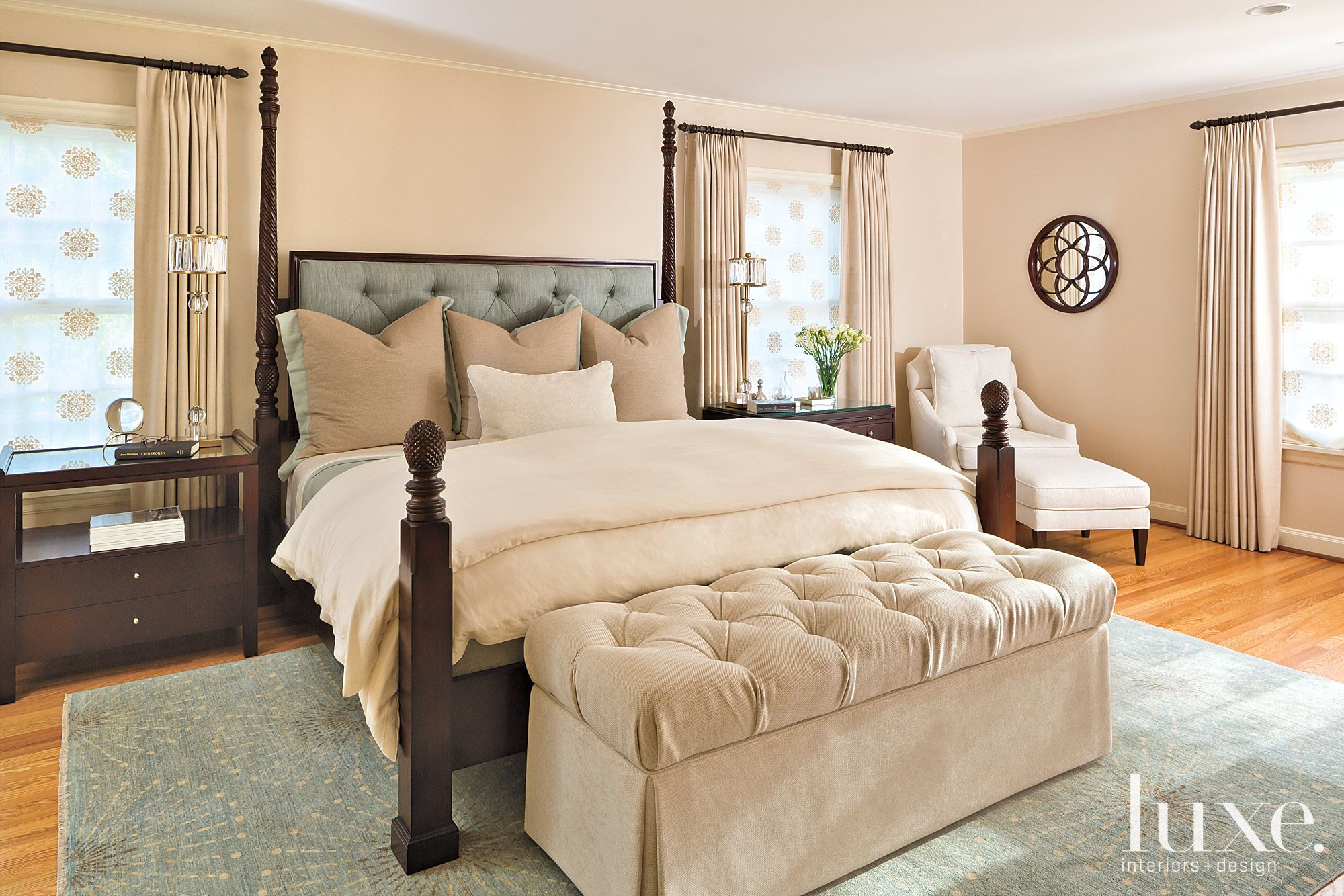 Transitional Neutral Master Bedroom with Layered Draperies