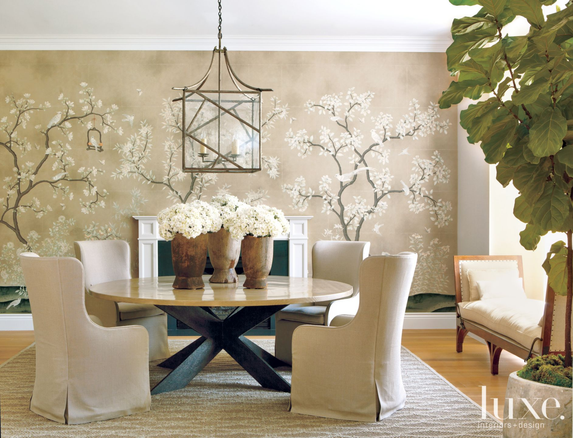 Transitional Neutral Dining Room with Motif Accent Wall