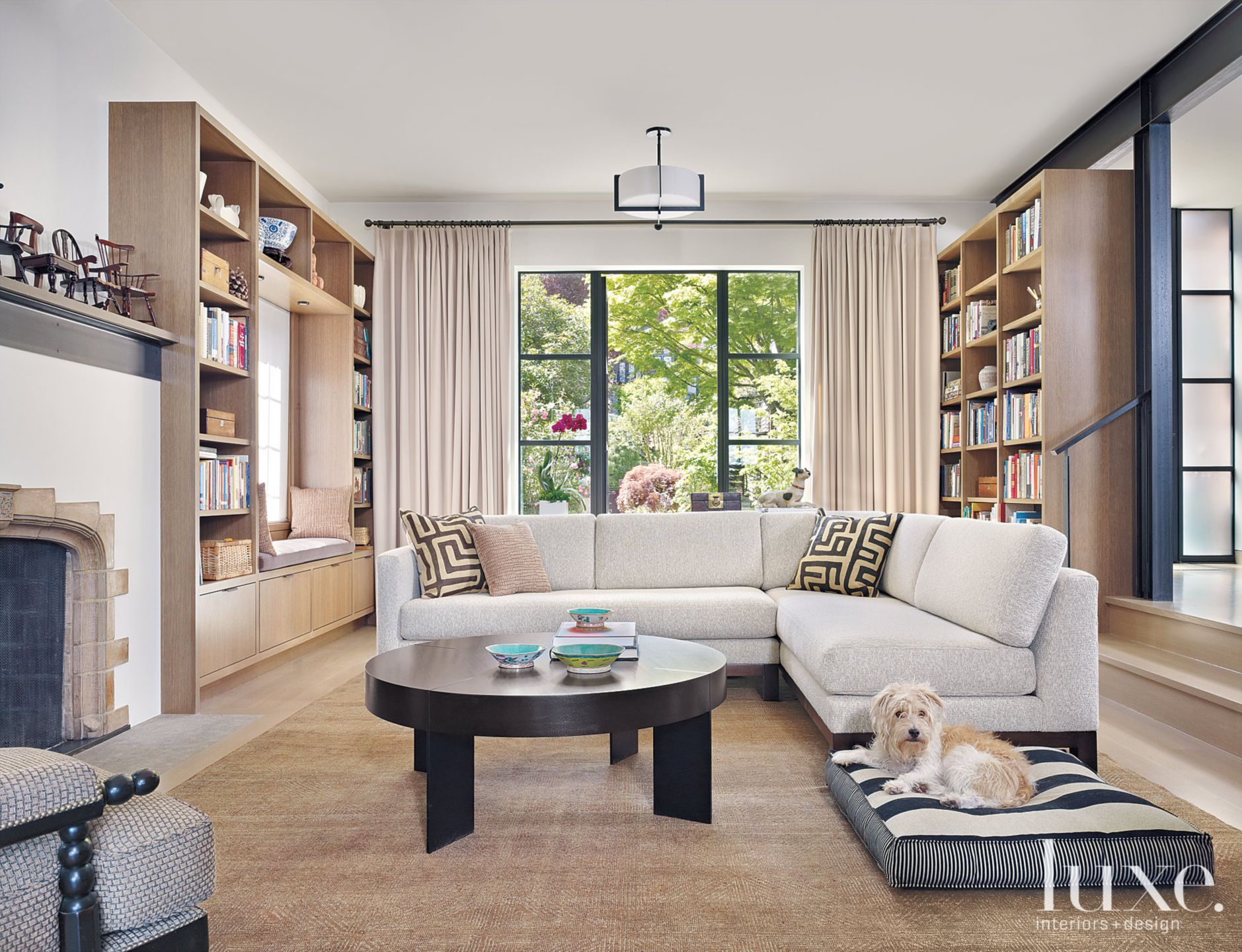 Contemporary Neutral Sunken Room Library