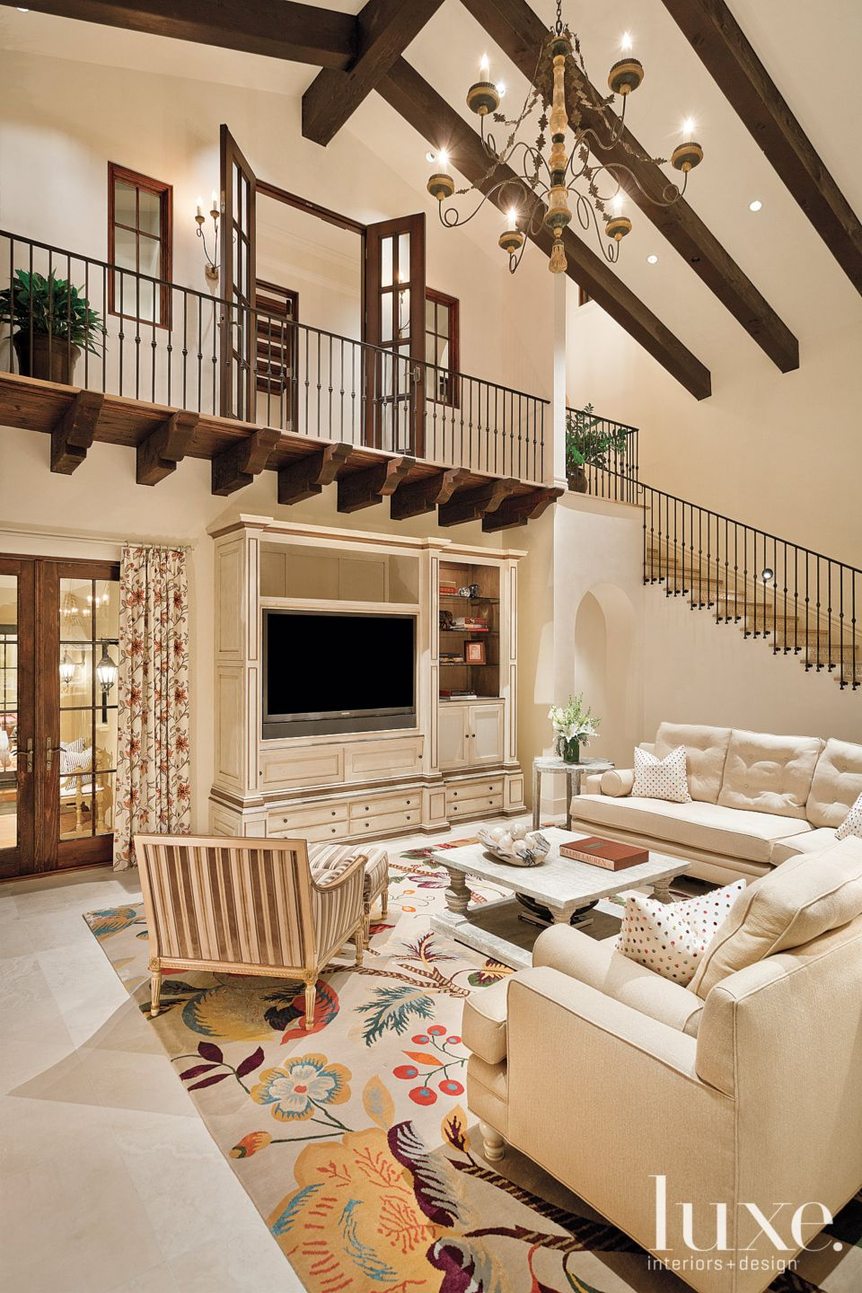 Traditional Cream Living Room with Vibrant Rug