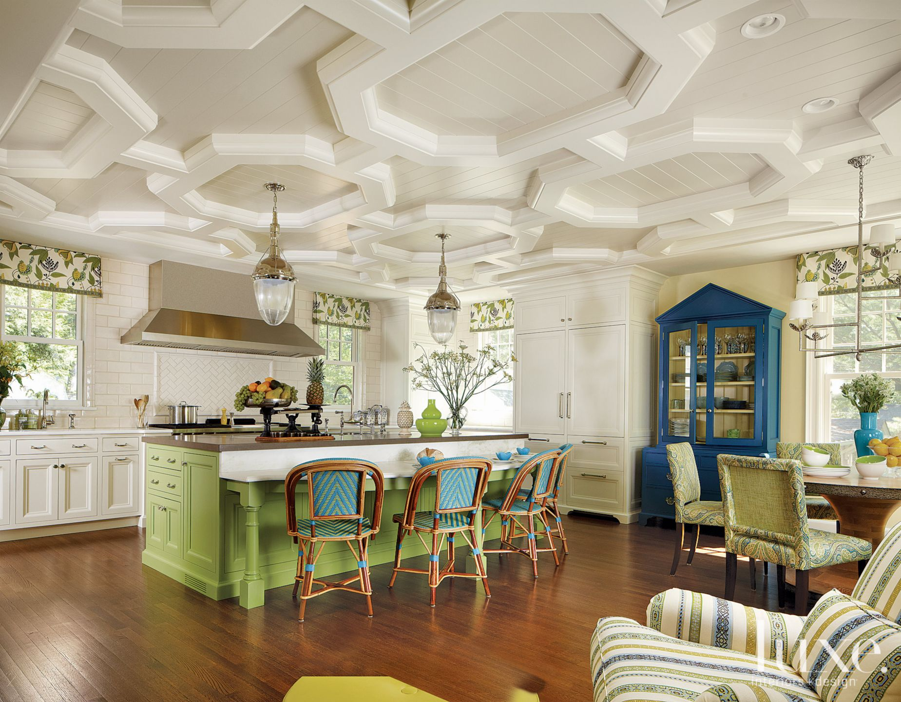 Transitional Green Kitchen With Octagonal Ceiling
