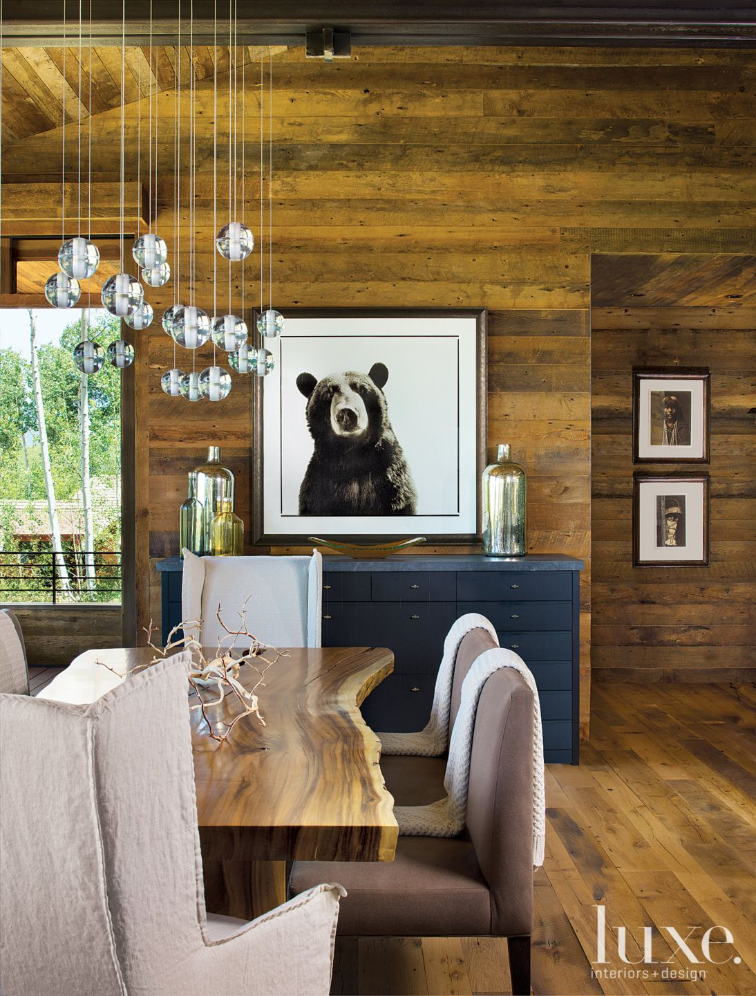 Neutral Mountain Dining Room with Bear Picture