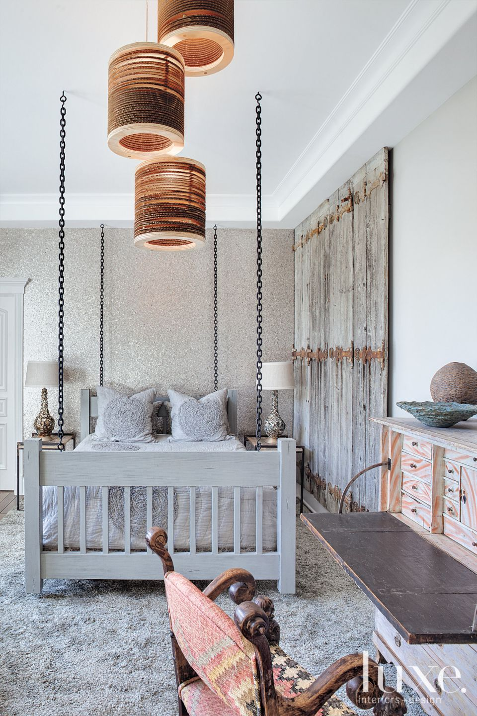 Contemporary Neutral Bedroom with Hanging Bed