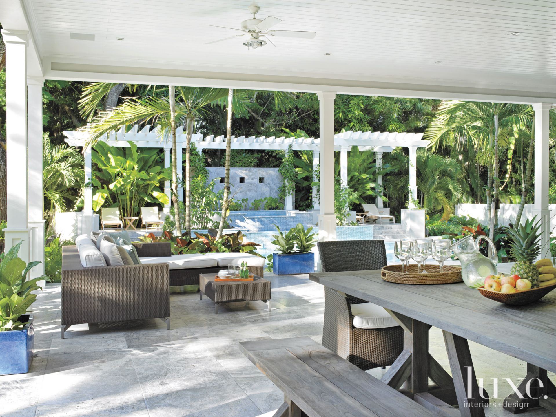Contemporary White Trellised Pergola with Tropical Feel