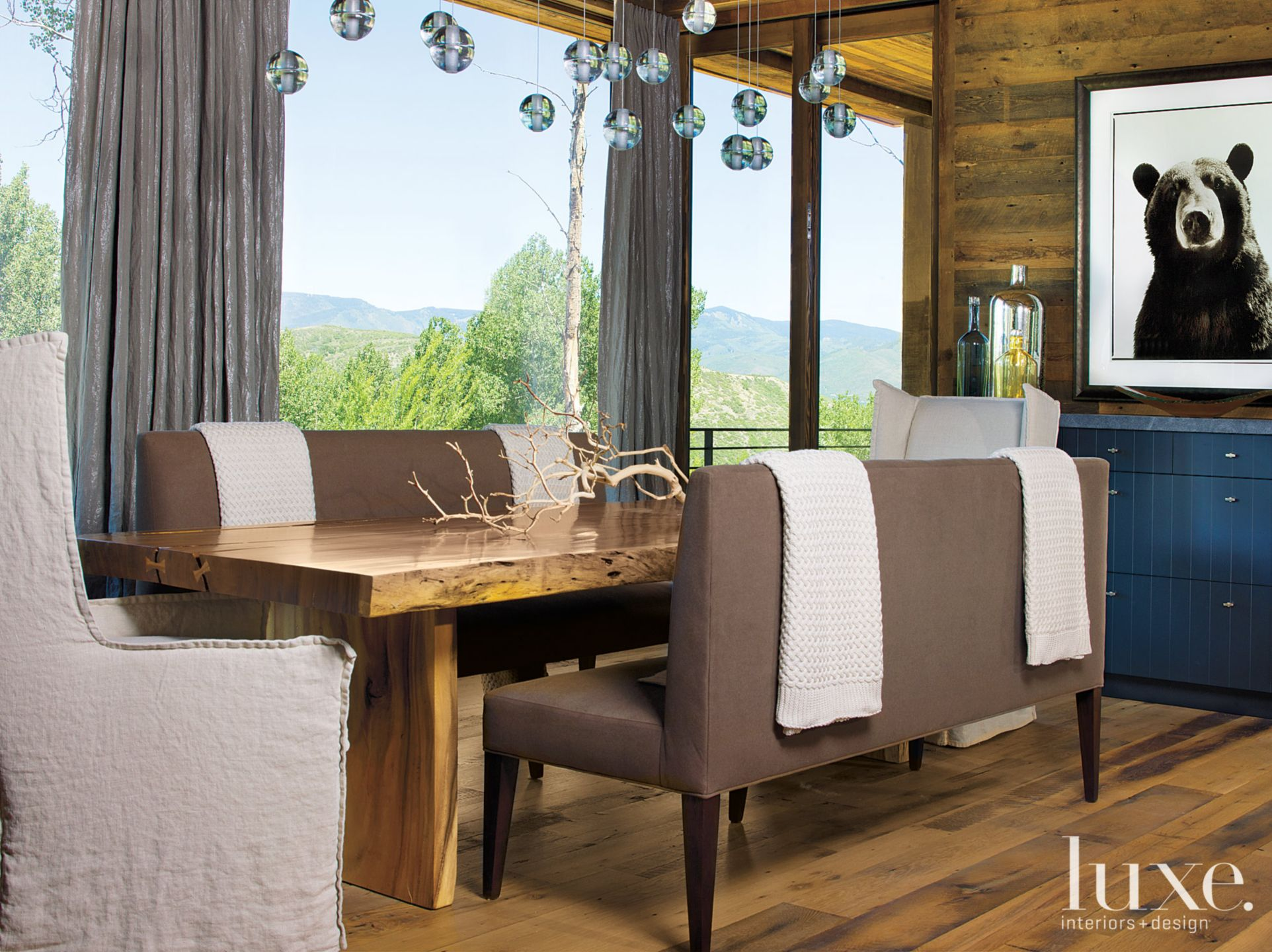 Mountain Neutral Dining Room with Bench Seating