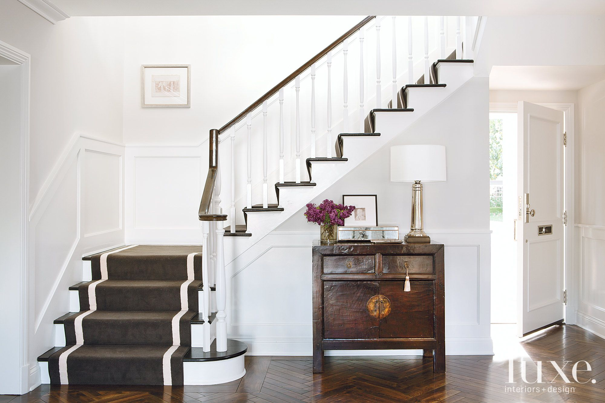 White Traditional Foyer and Stairway