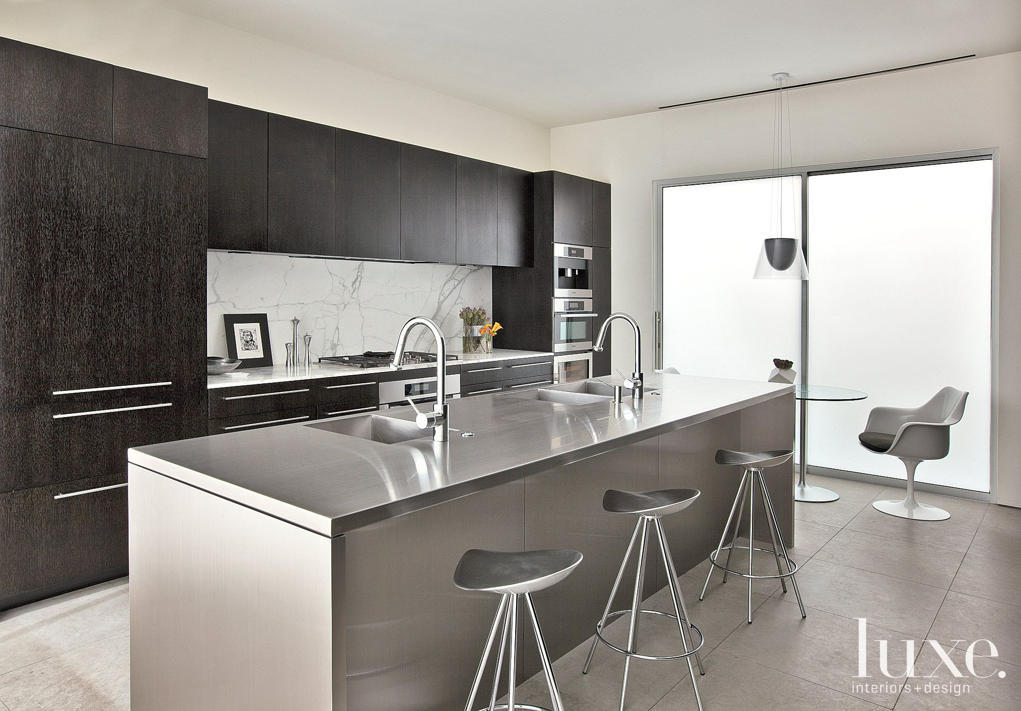 Modern Marble and Stainless Steel Kitchen