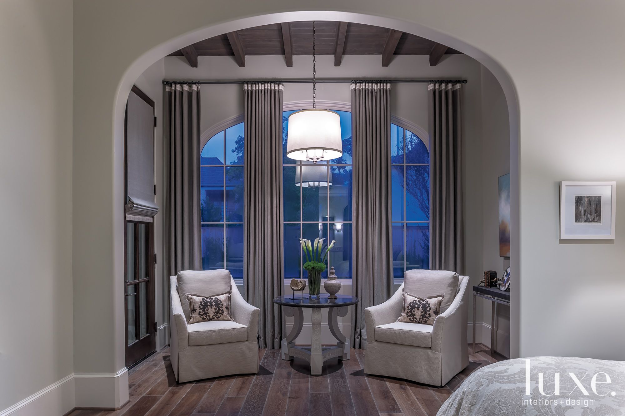 Transitional Gray Bedroom Sitting Area