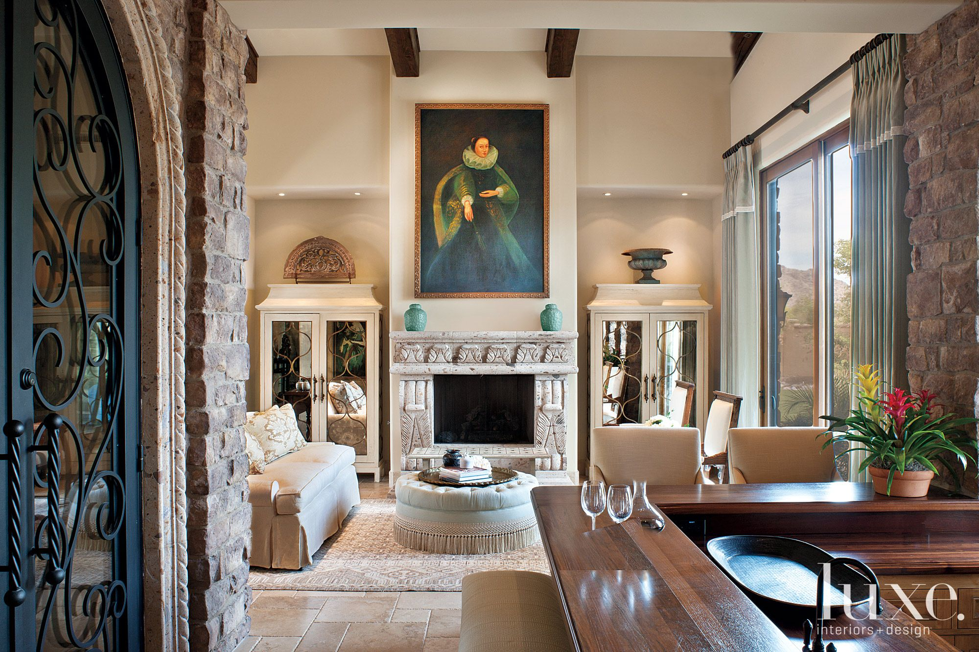Neutral Mediterranean Living Room