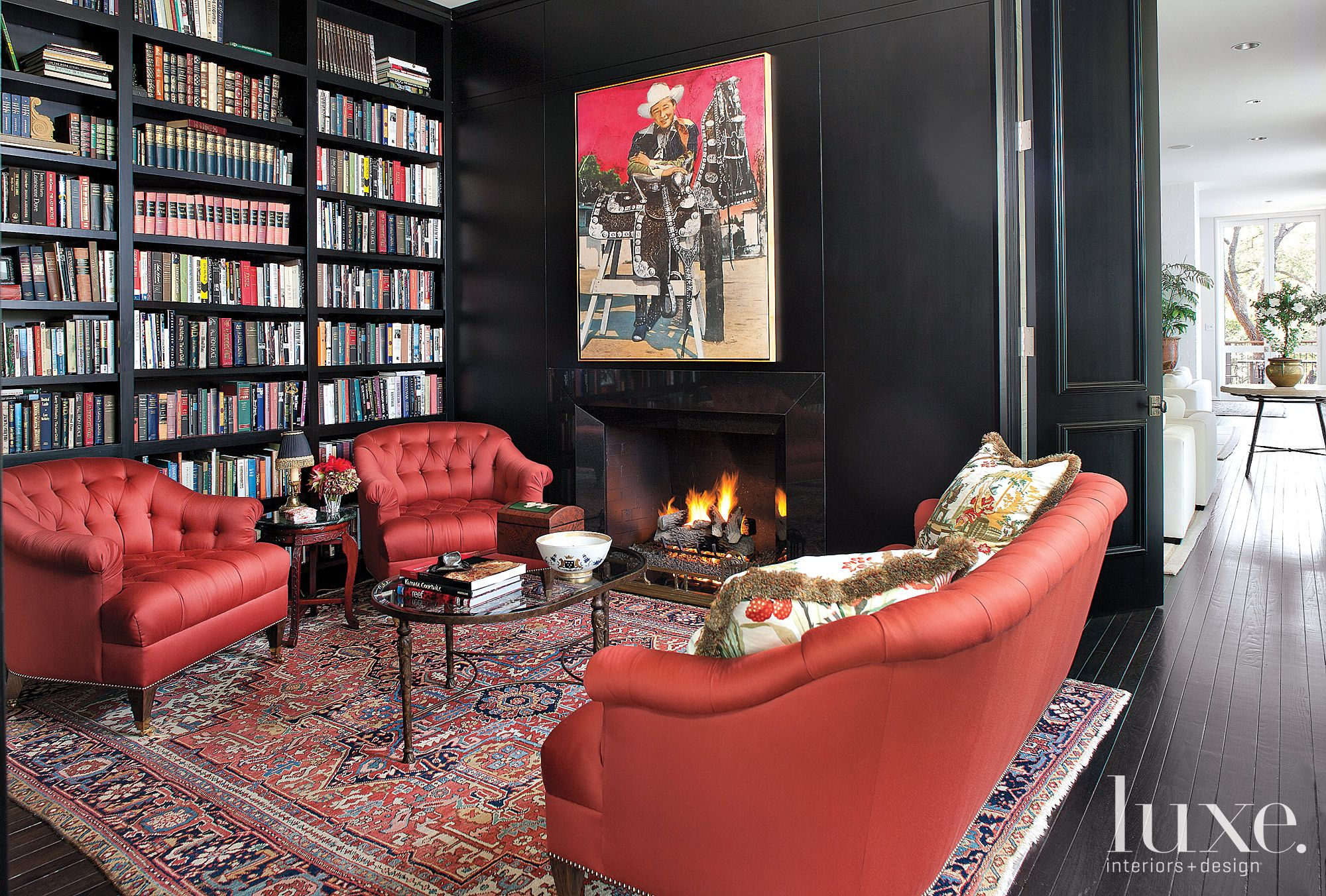 Restored Black Modern Ranch-Style Library