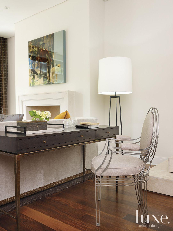 White and Cream Modern Living Room with Elegant Desk