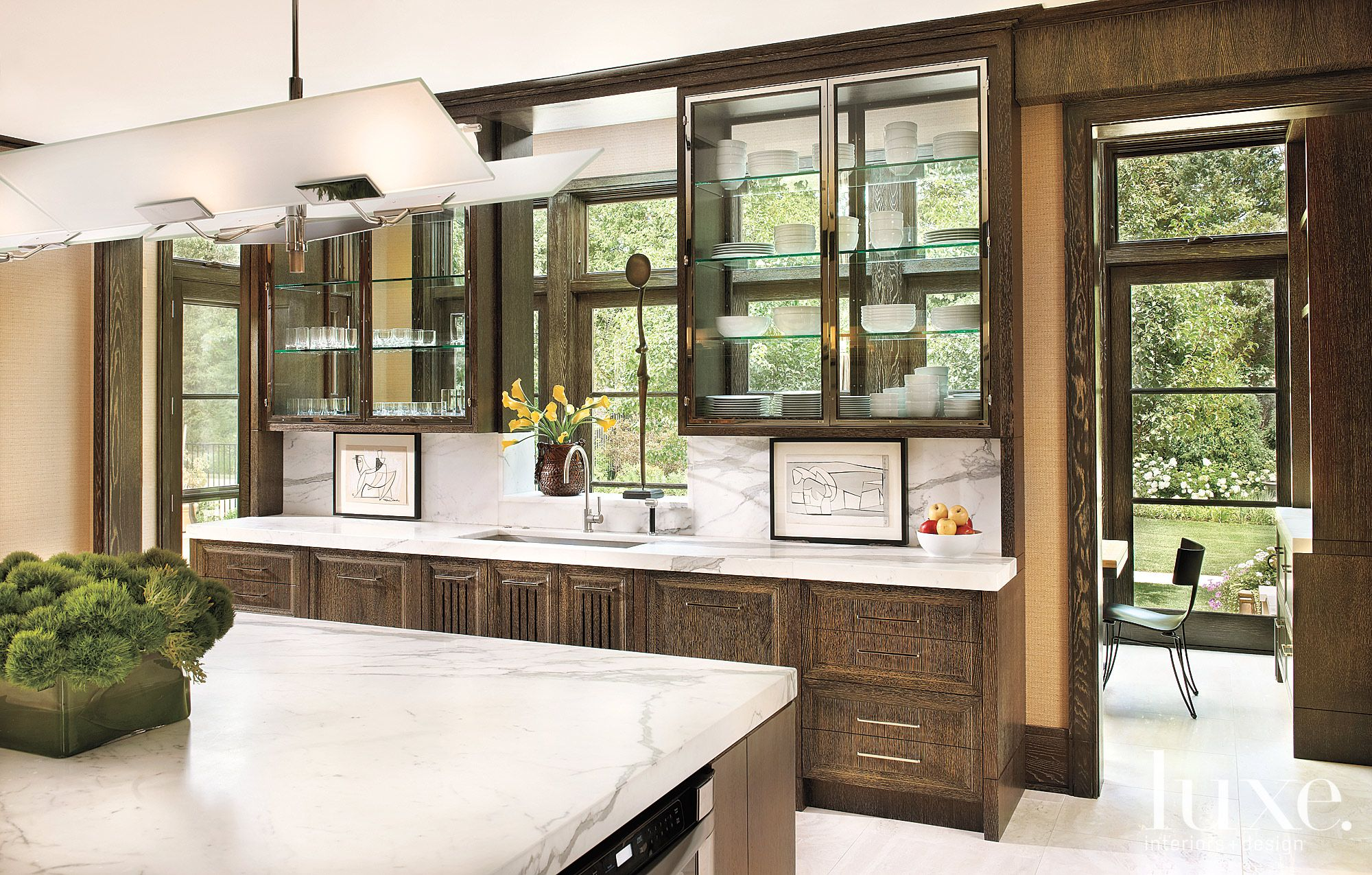 Transitional Brown Kitchen with Eat-in Sunroom