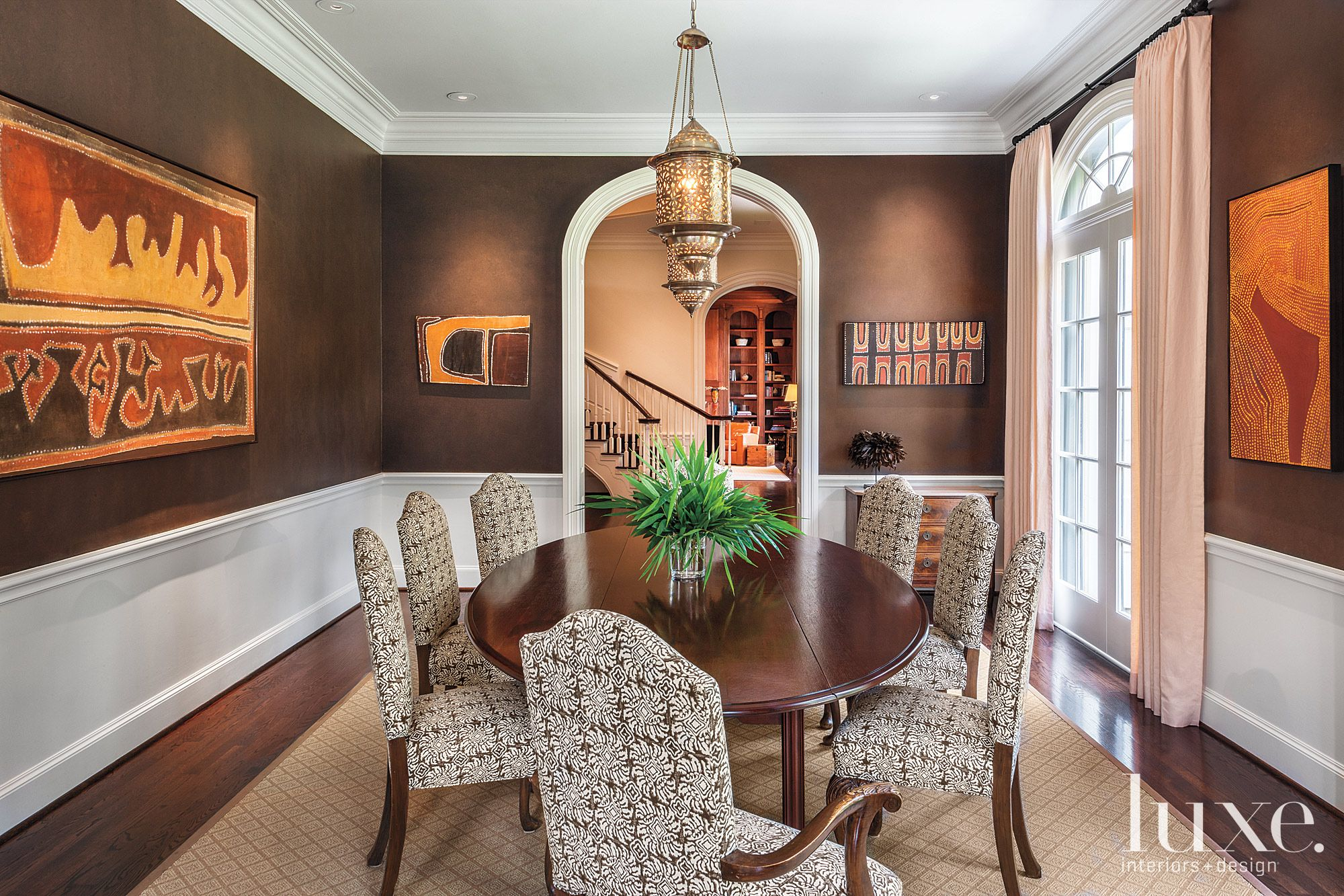 Transitional Art-Filled Dining Room