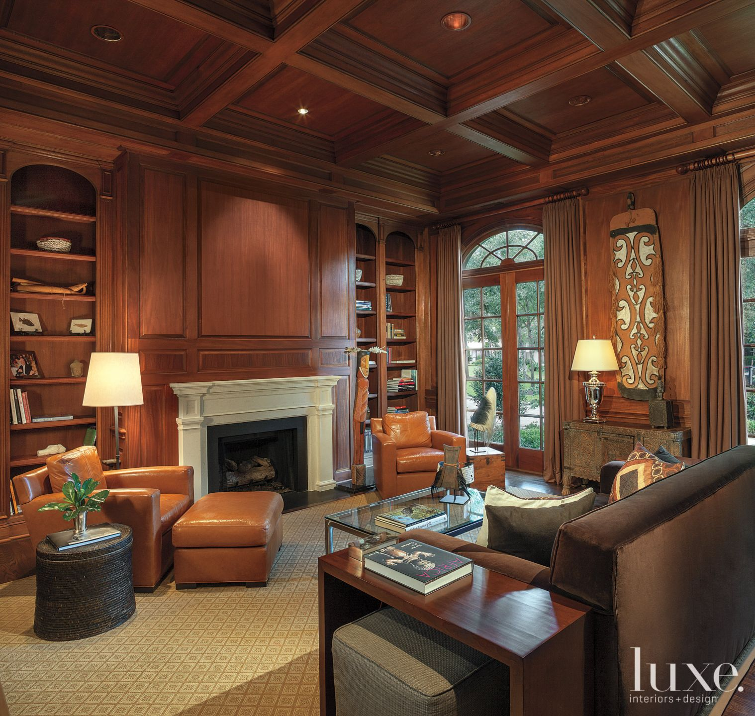 Traditional Chestnut-Paneled Library