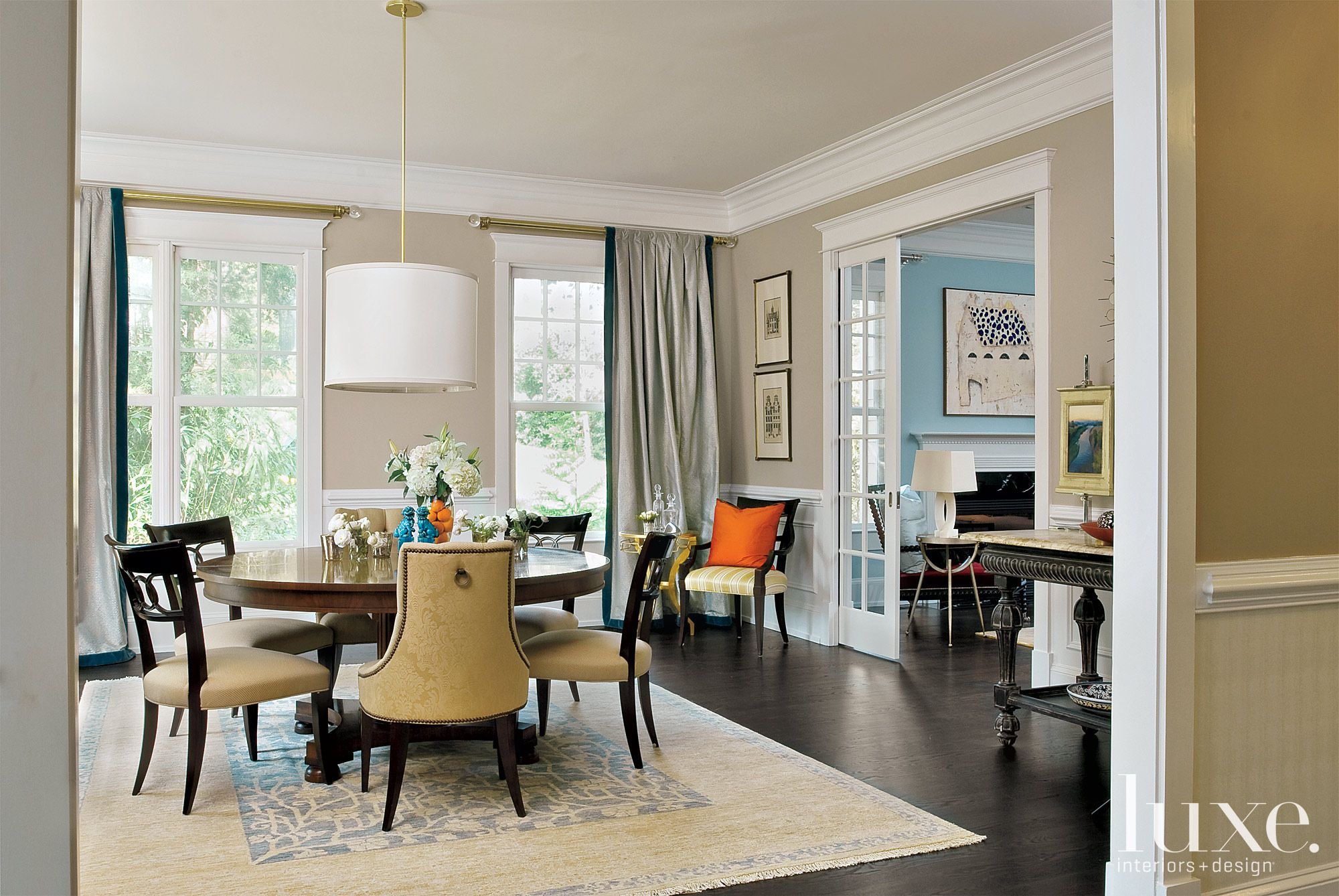 Transitional Neutral Dining Room