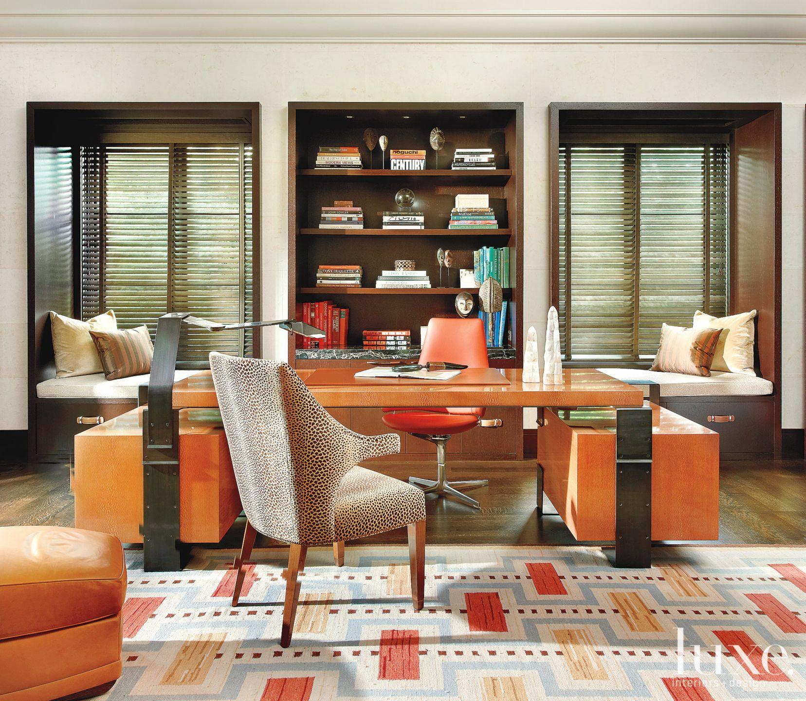 Transitional Orange Office with Bronze Desk