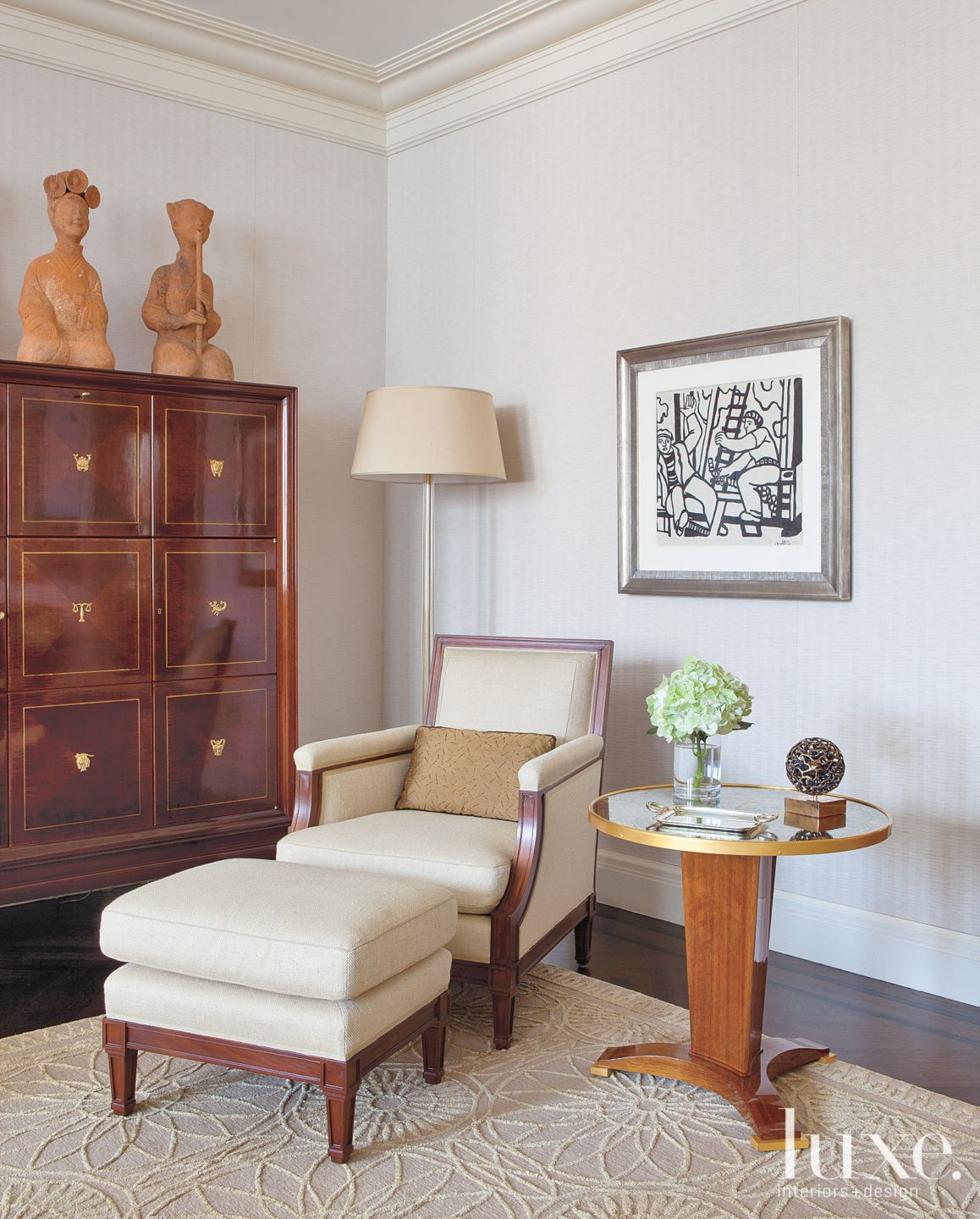 Traditional White Seating Area with French Mahogany Cabinet