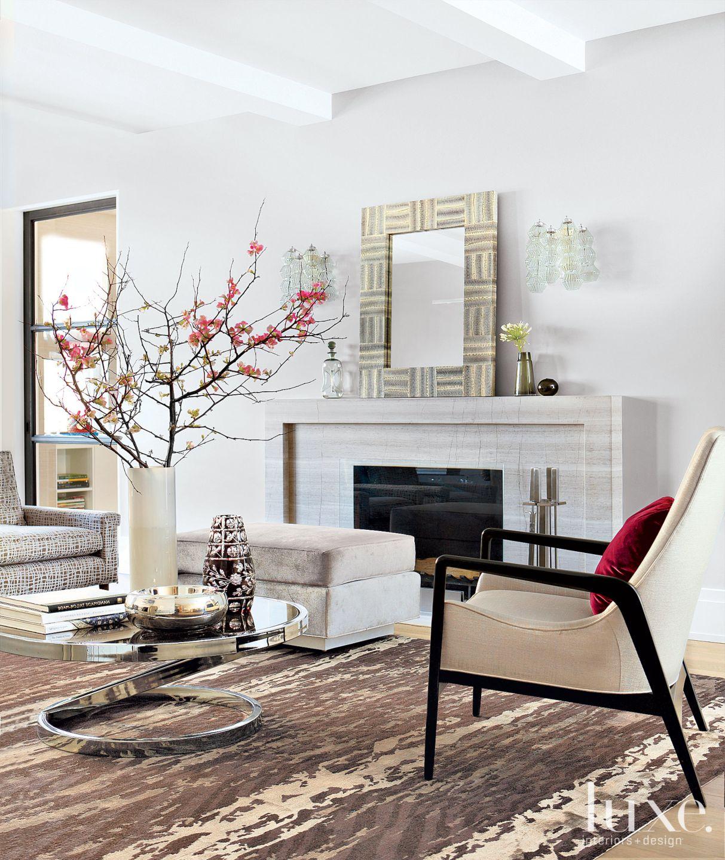 Modern White Living Room Fireplace