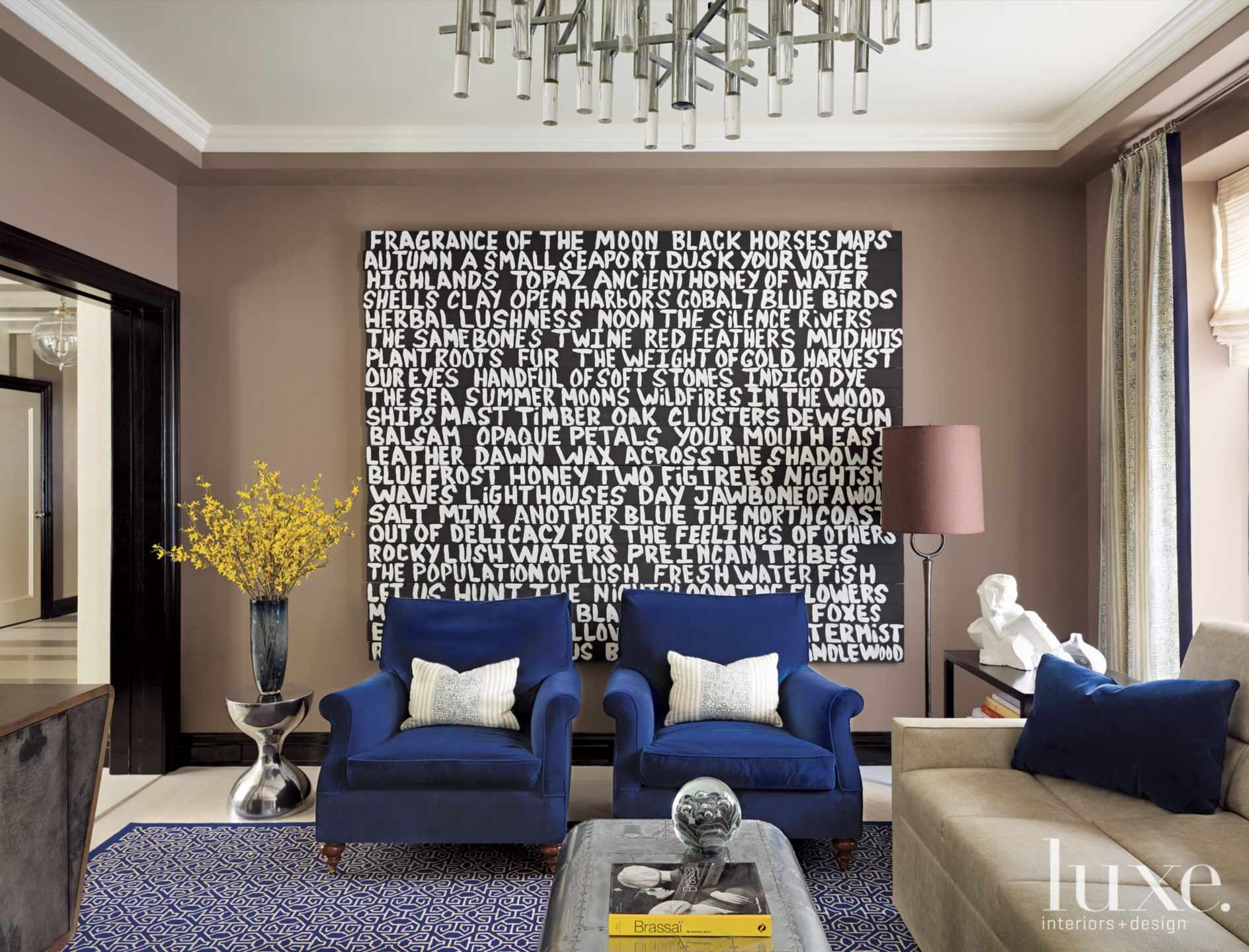 Modern Brown Media Room with Graphic Art