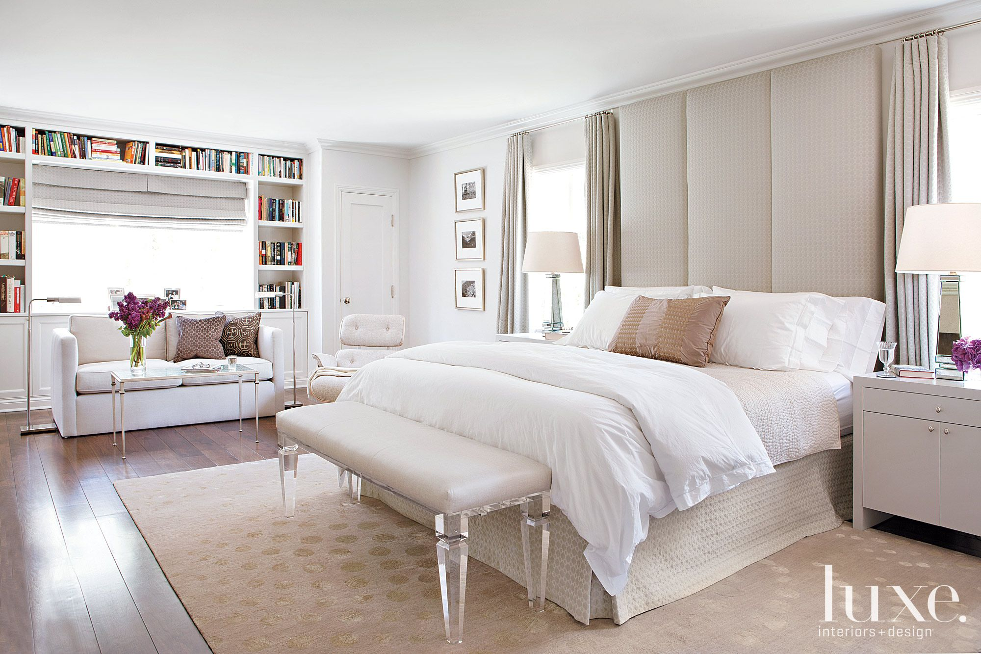 Contemporary White Bedroom with Floor-to-Ceiling Headboard