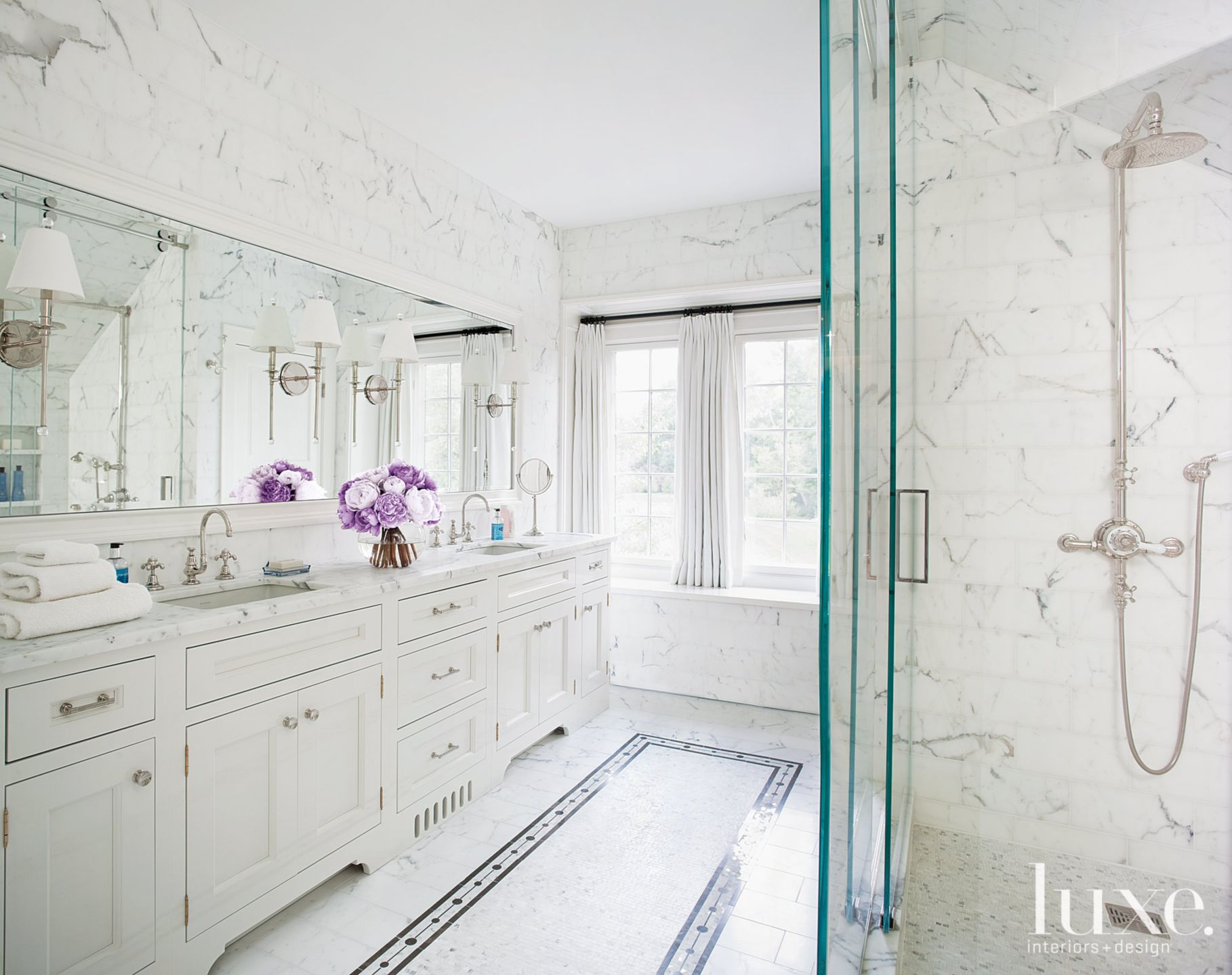 White Marble Master Bathroom with Mosaic Tile Floor Detail