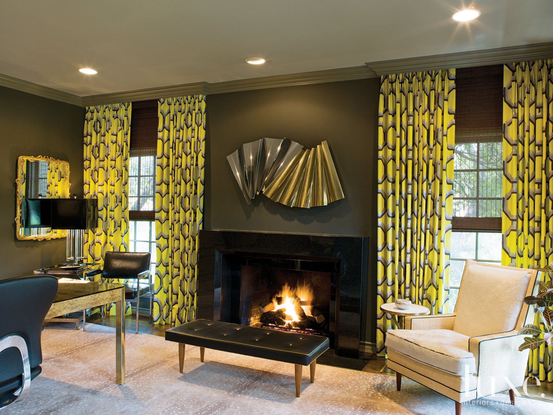 Eclectic Brown Study with Patterned Curtains