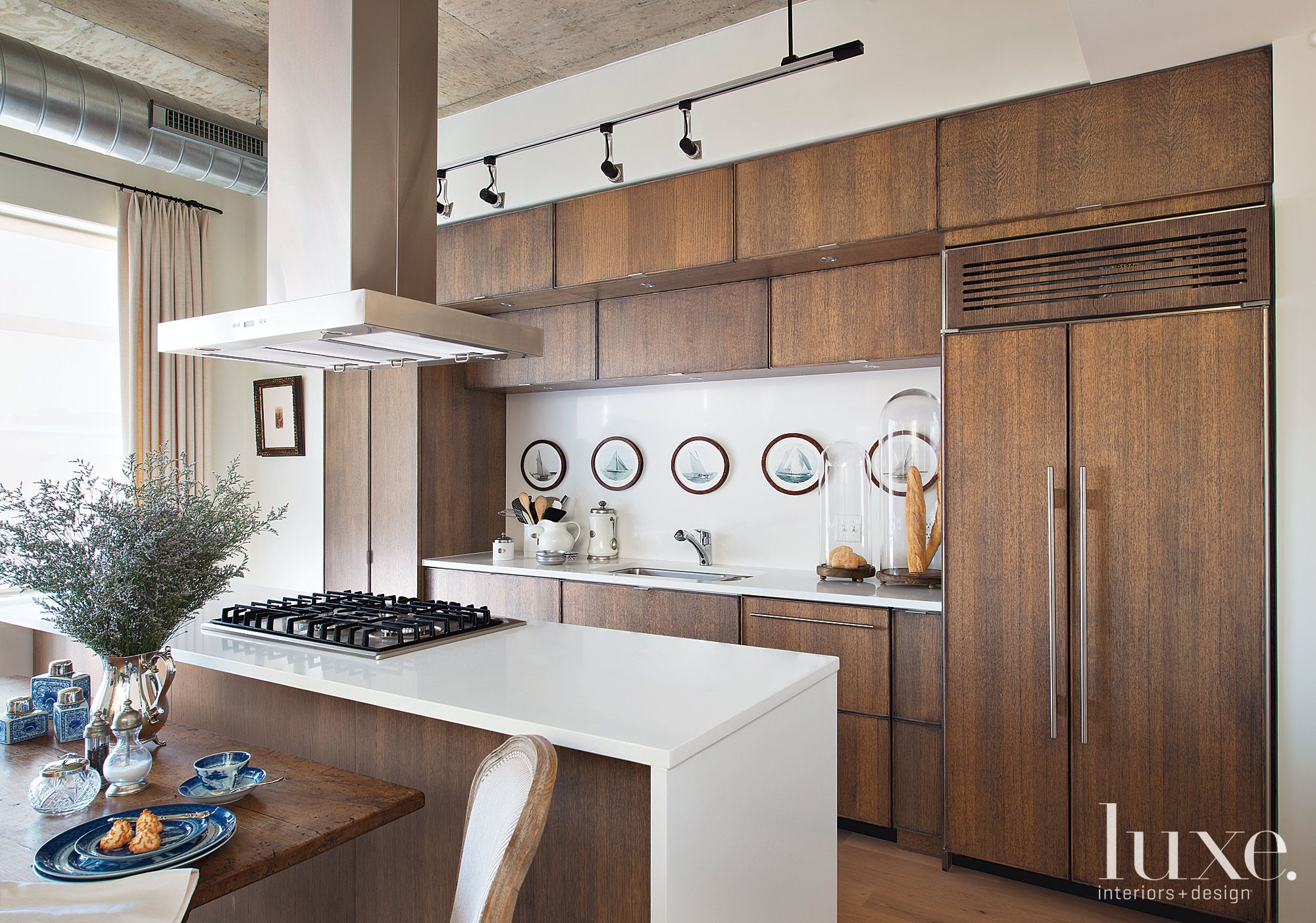 Eclectic Neutral Kitchen with Warm Oak Cabinetry