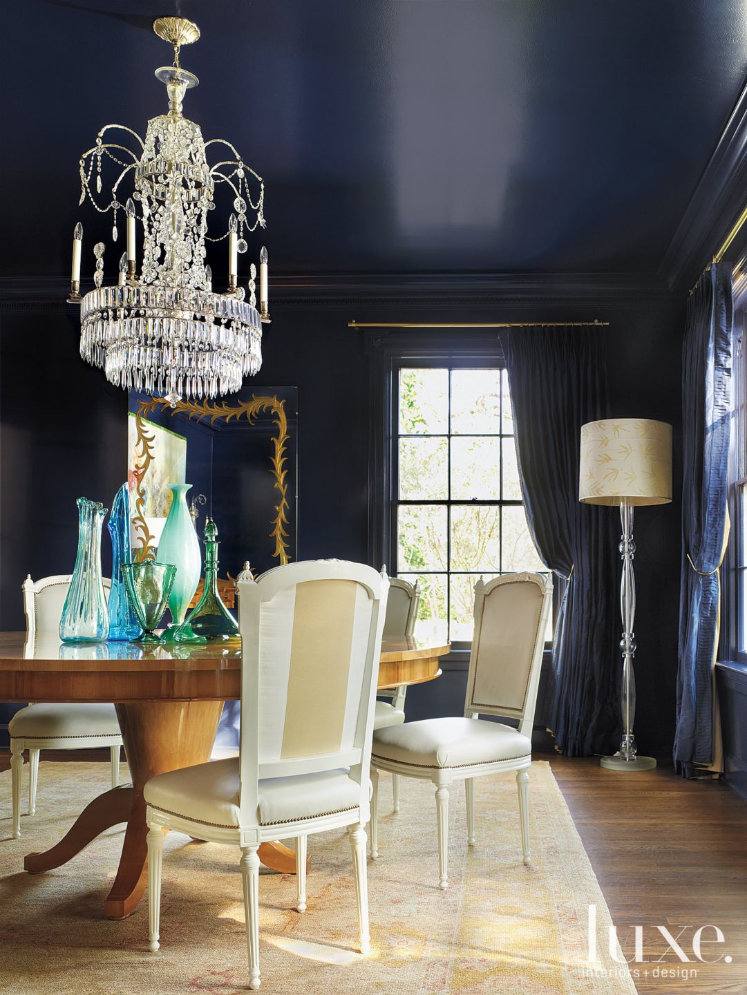 Navy Blue Neo-Classical Dining Room