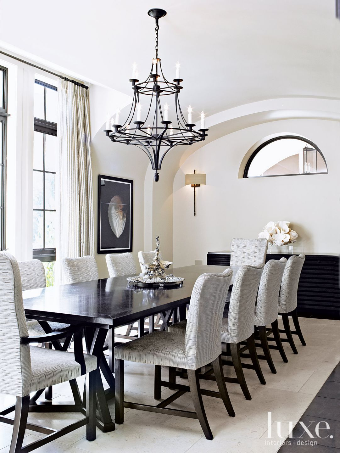 Contemporary Cream Dining Room with Barrel Vault Ceiling