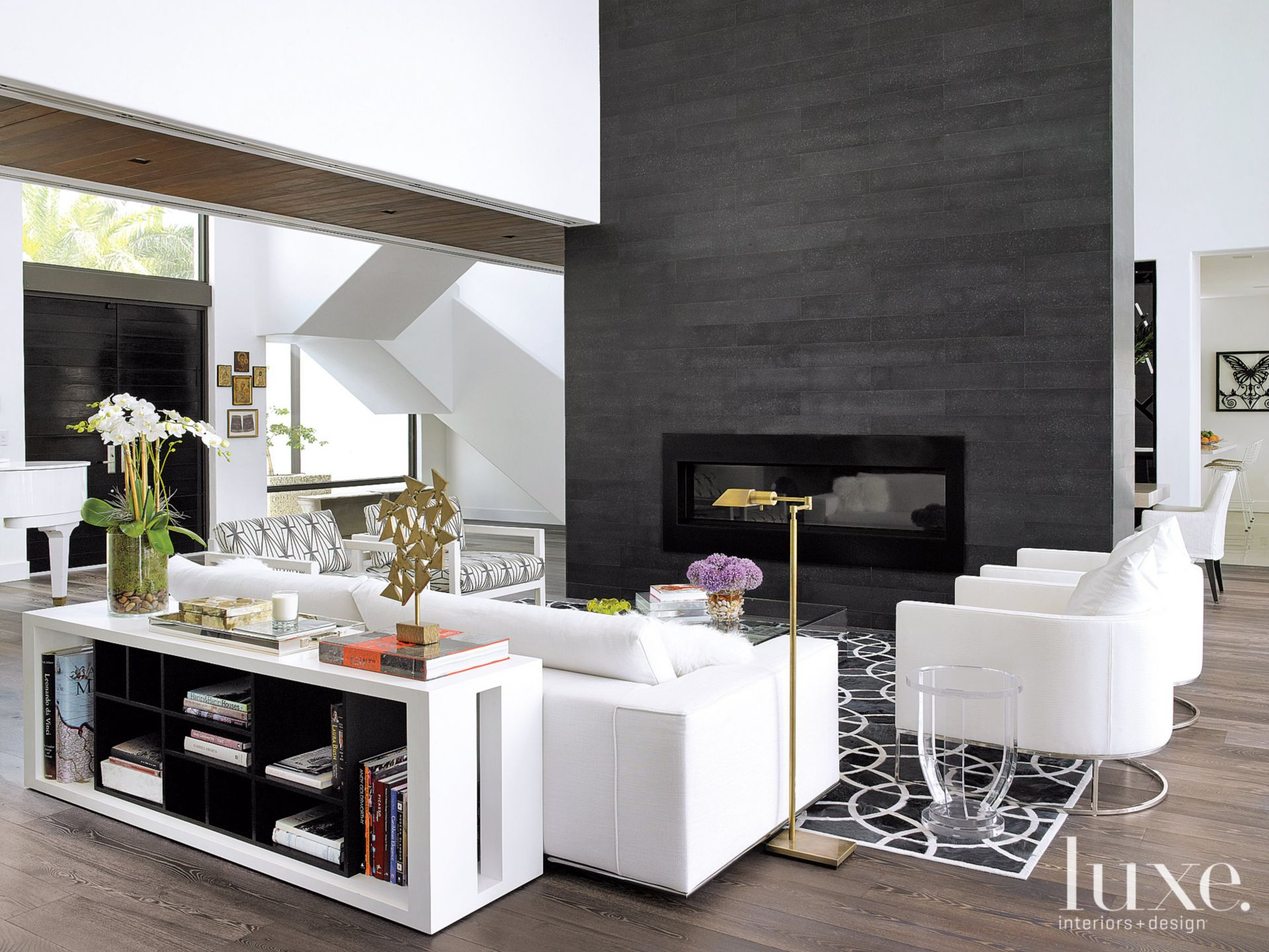 Modern White Great Room Fireplace