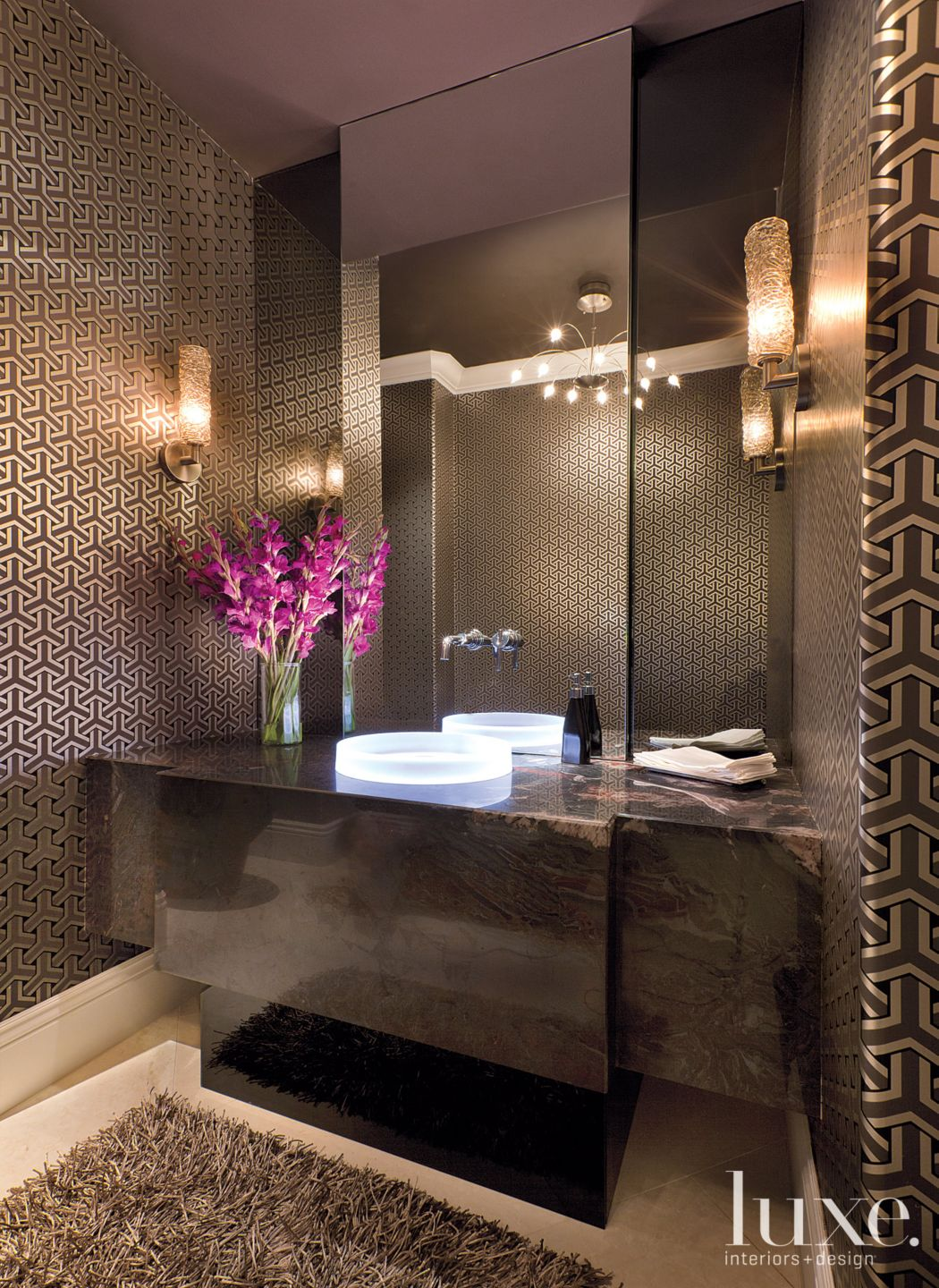 Contemporary Brown Powder Room with Smoke-Colored Glass