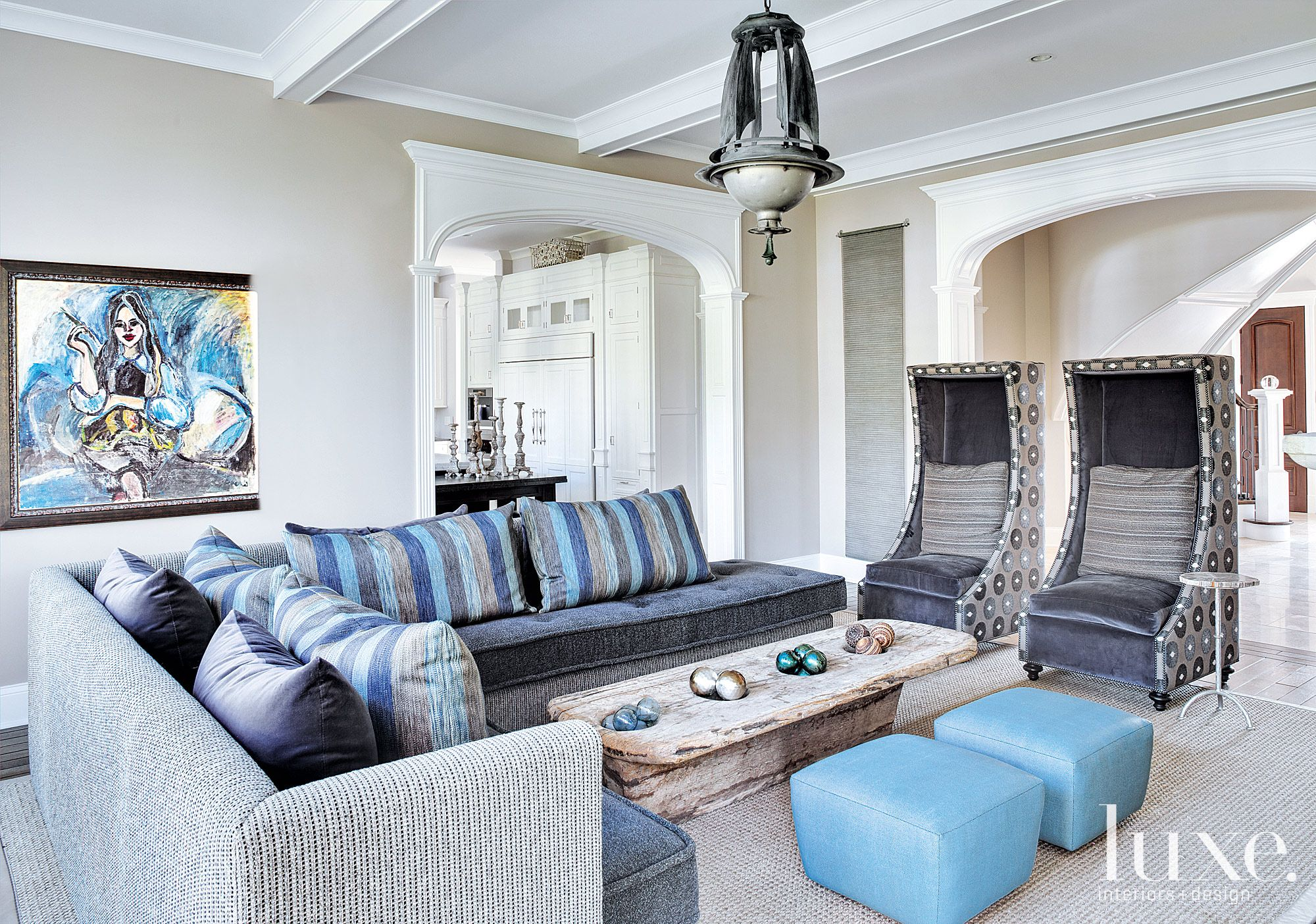 Contemporary White Family Room with Extra-Tall Chairs