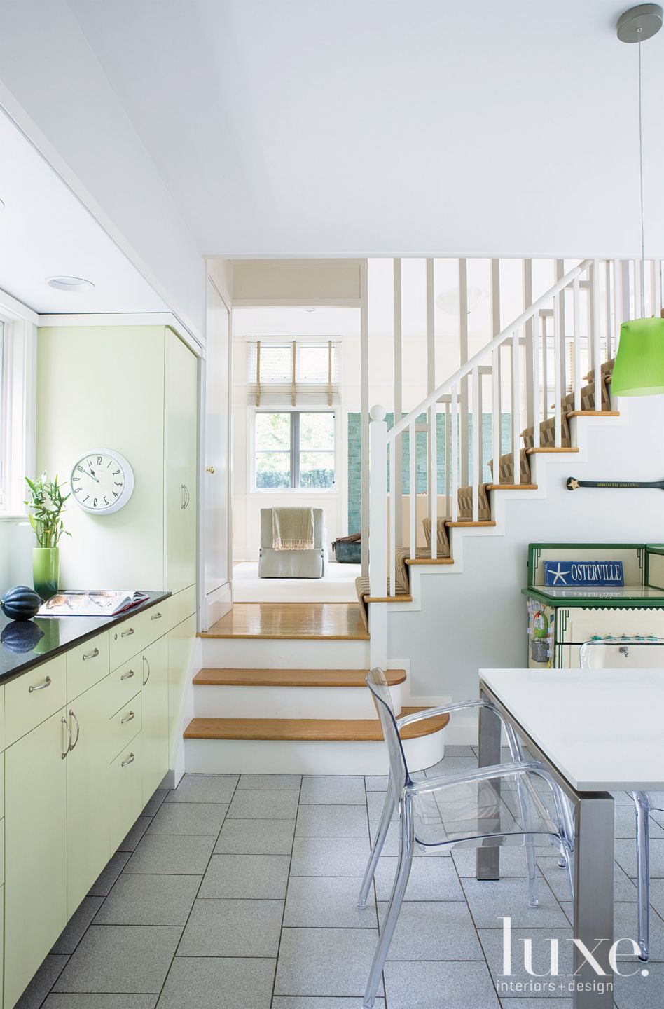 Transitional White Kitchen with Staircase
