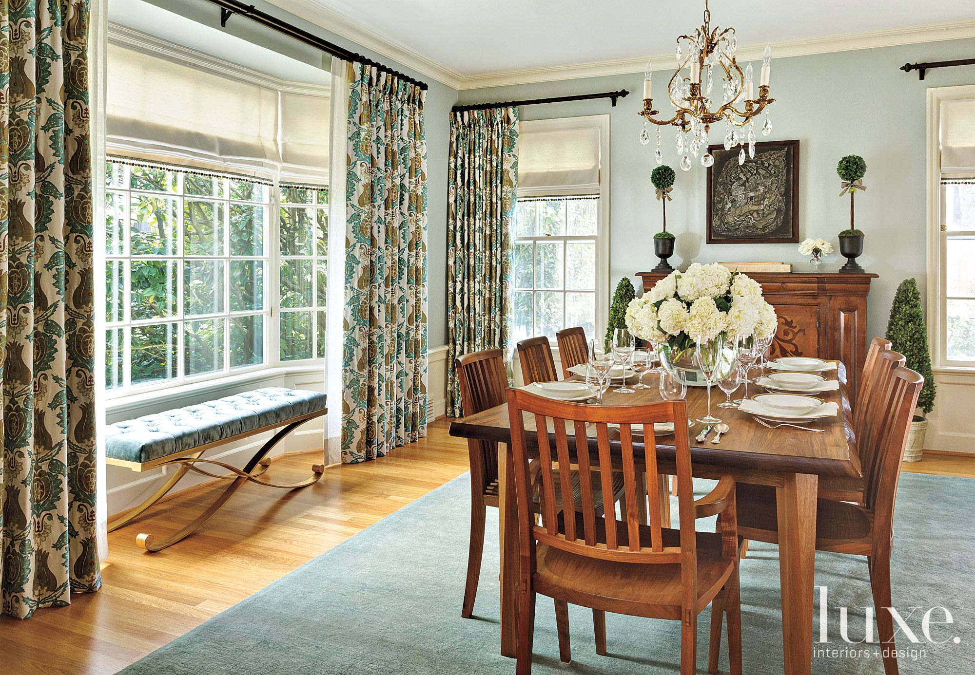 Transitional Blue Dining Room with Damask Draperies