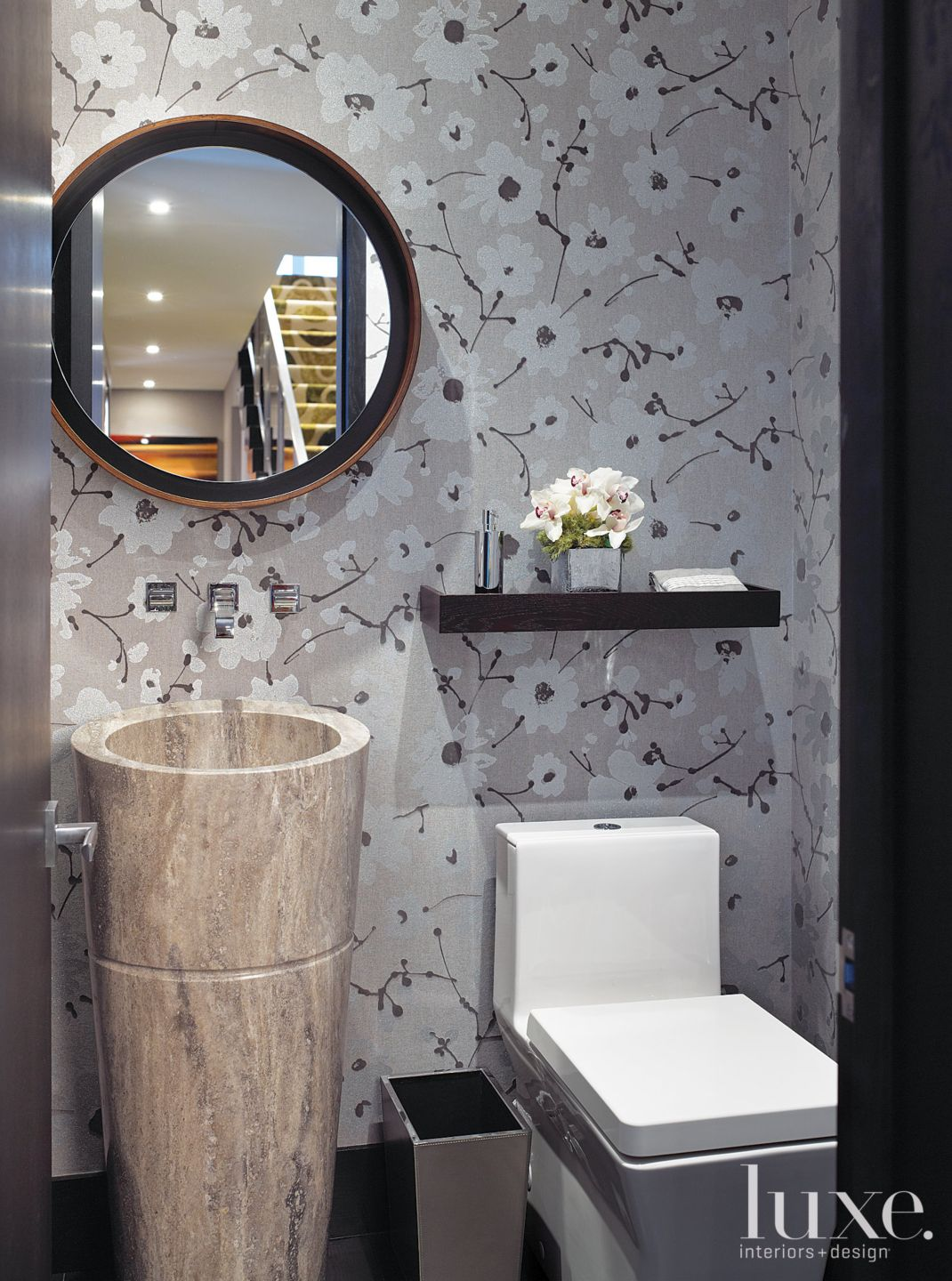 Square shaped toilet in powder room