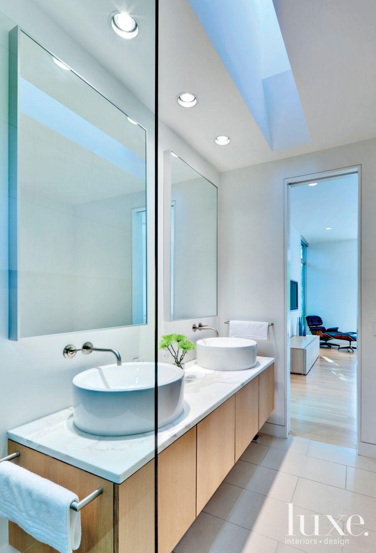 Modern White Marble Master Bath Vanity