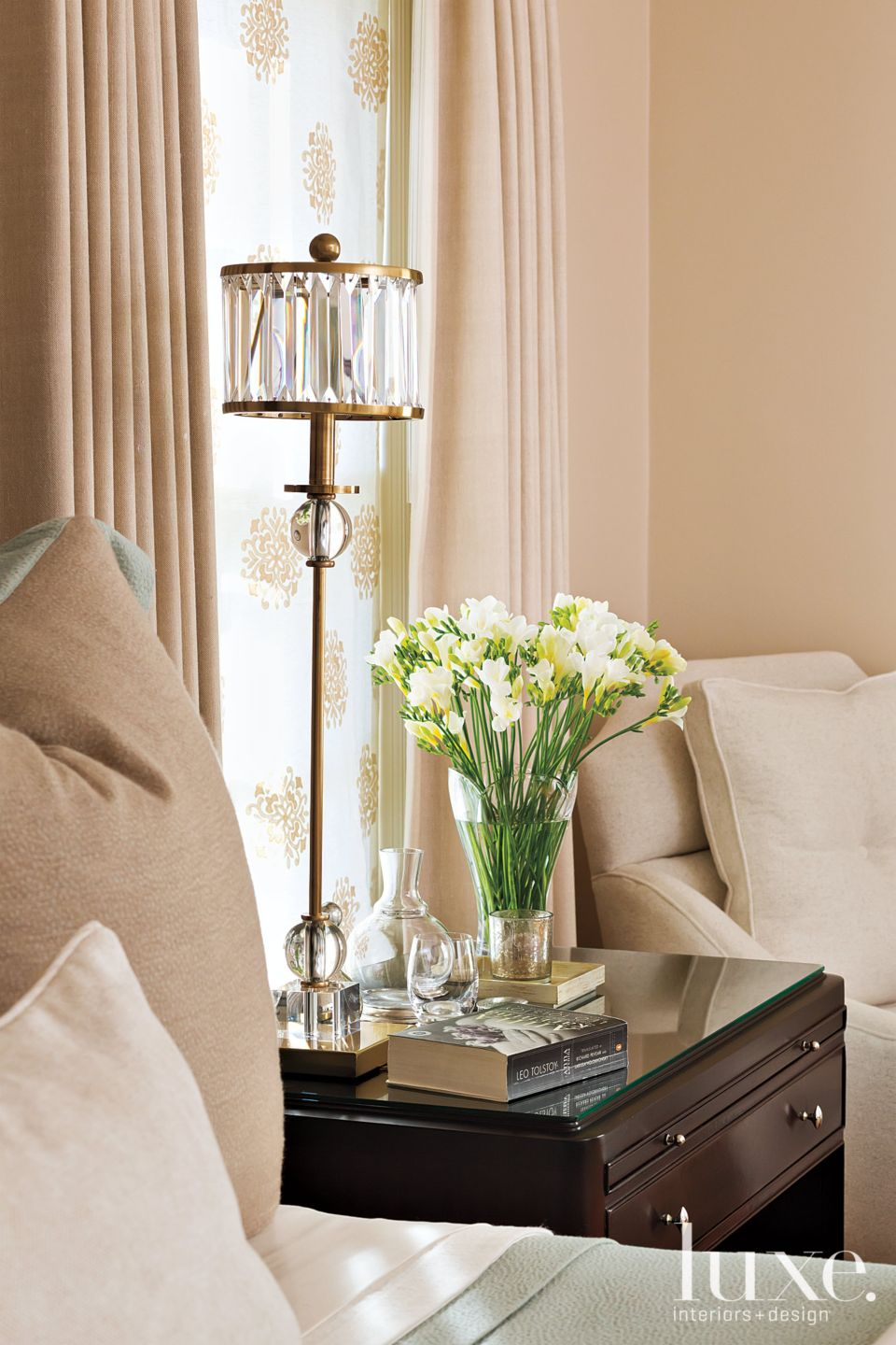 Transitional Neutral Bedroom Vignette with Crystal Lamp