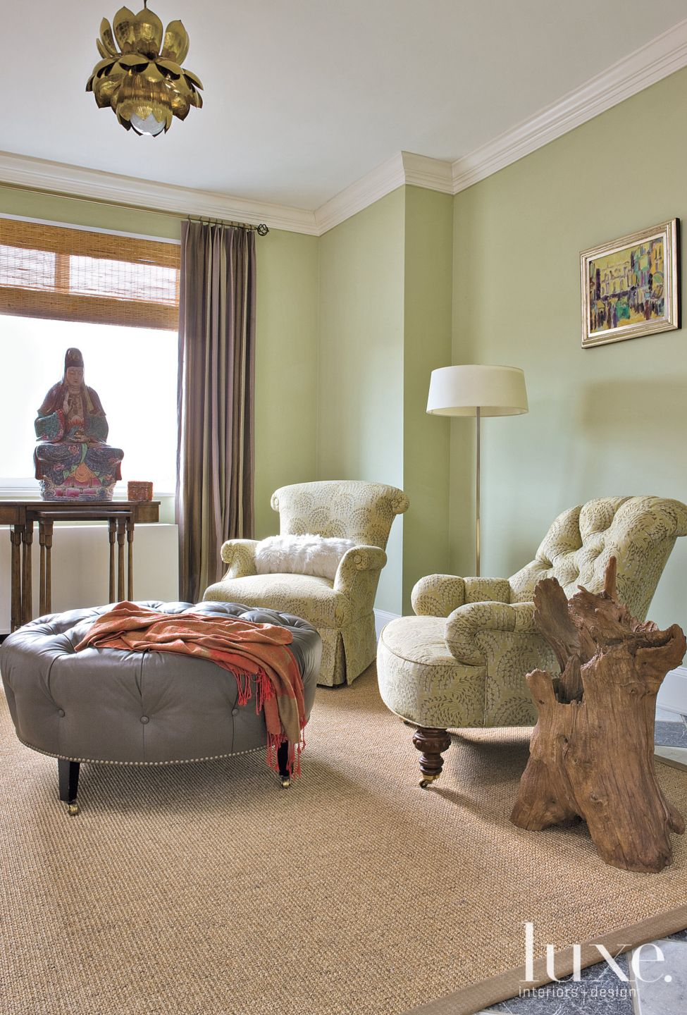 Eclectic Green Den with Asian Sculpture