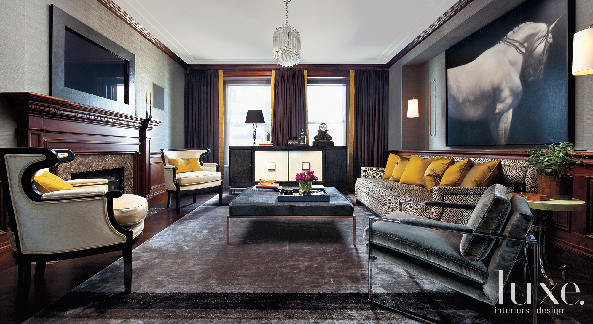 Eclectic Gray Family Room with Gold Accents