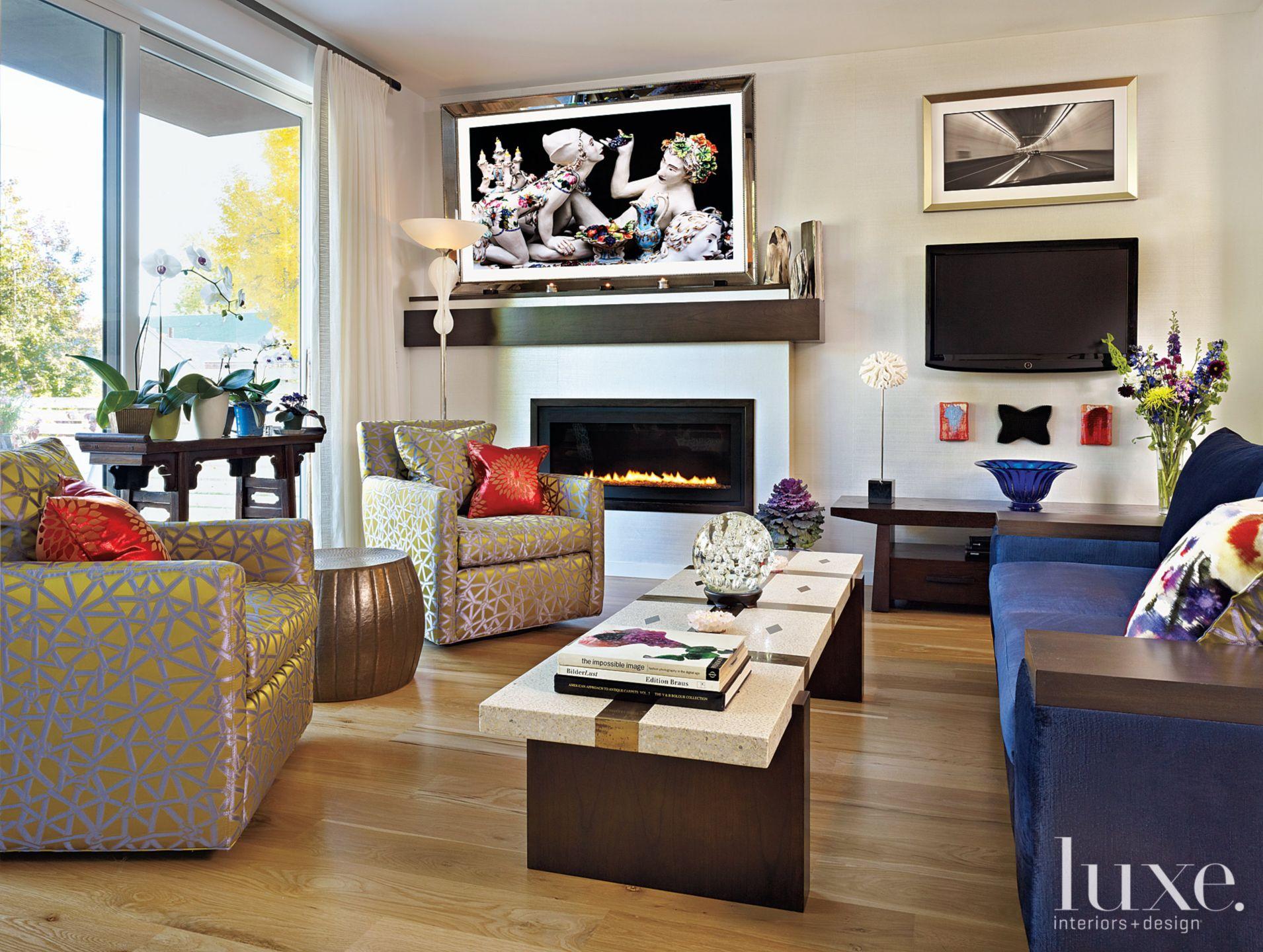 Metallic-Accented Eclectic Living Room