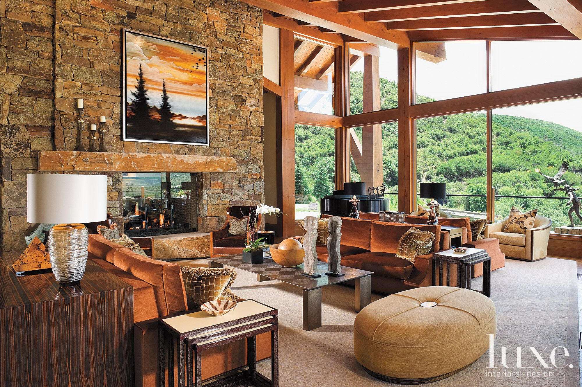 Mountain Neutral Living Room with Wood Beams