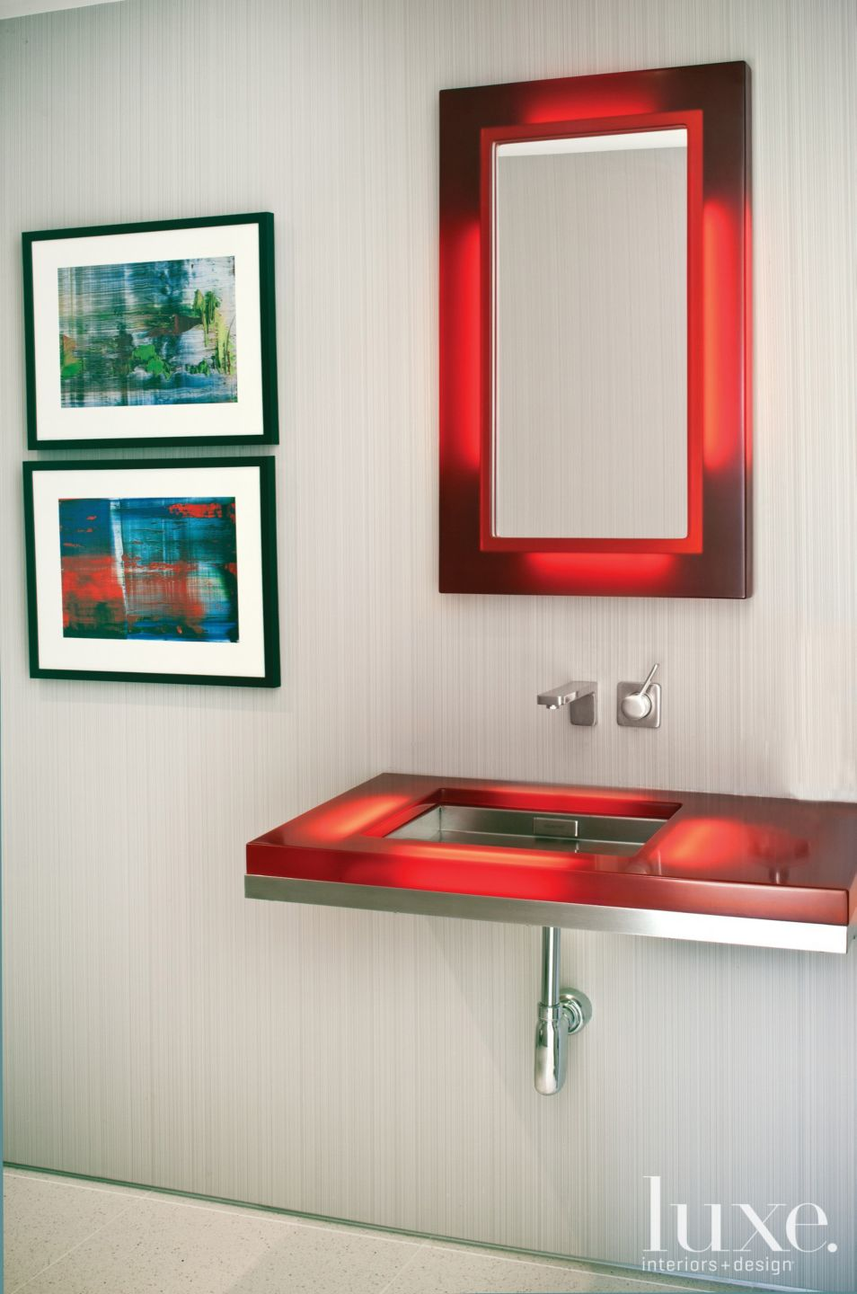 Contemporary Neutral Bathroom with Red Accents