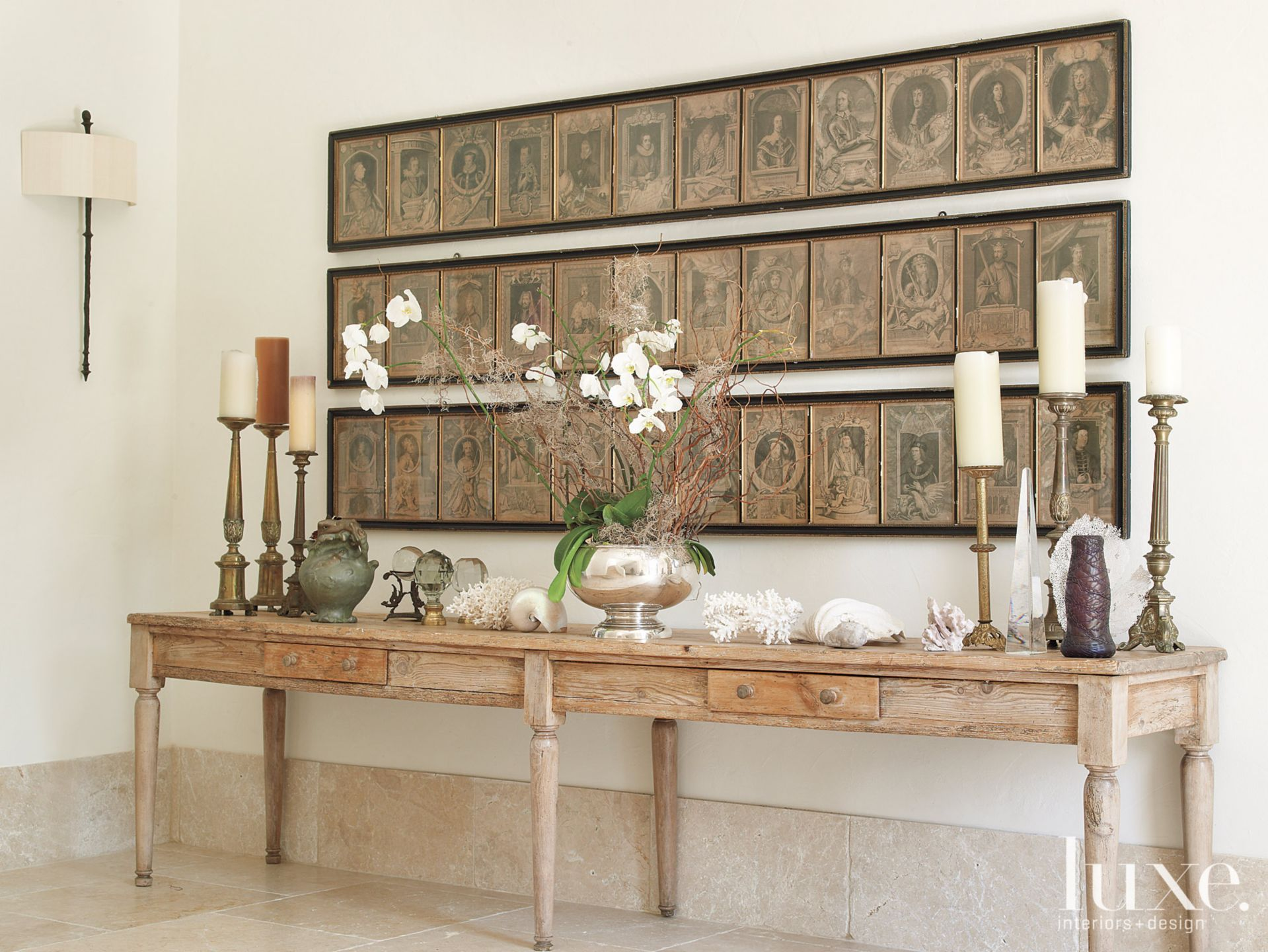 Mediterranean White Hall Detail with Wood Console