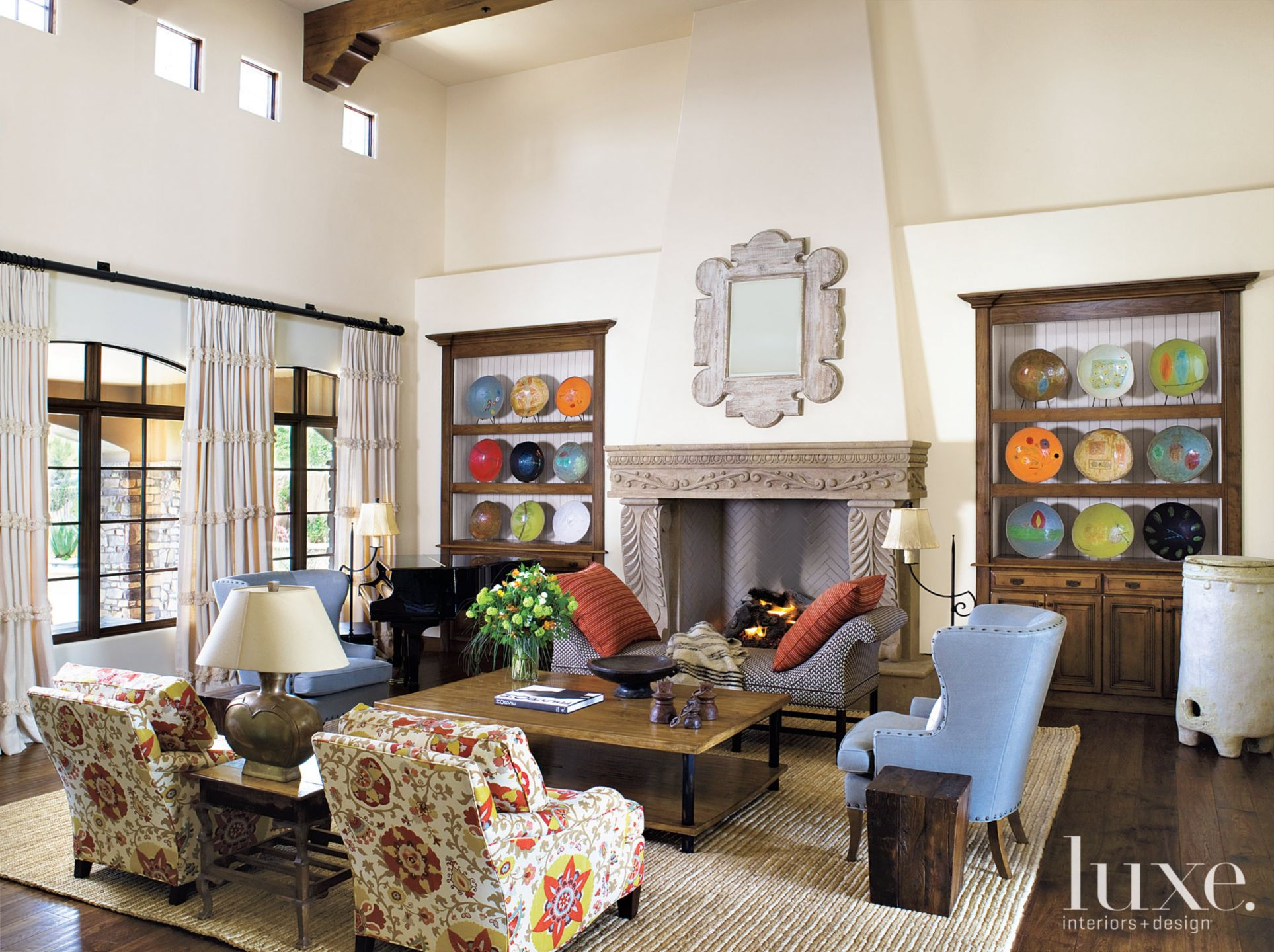 Eclectic White Living Room with Plate Display