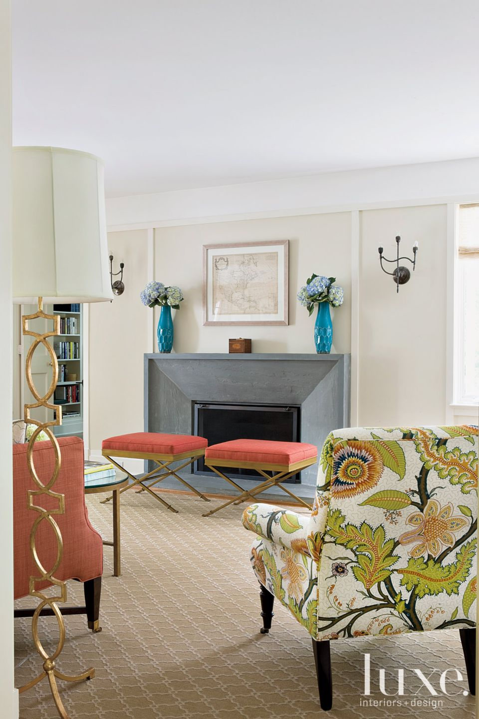 Transitional Cream Living Room with Stone Fireplaces