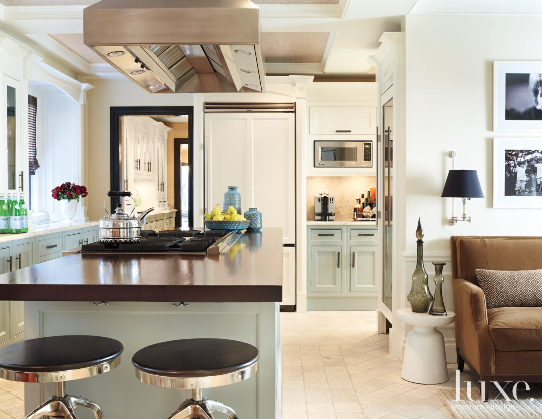 Modern Kitchen with Pastel Blue Cabinetry